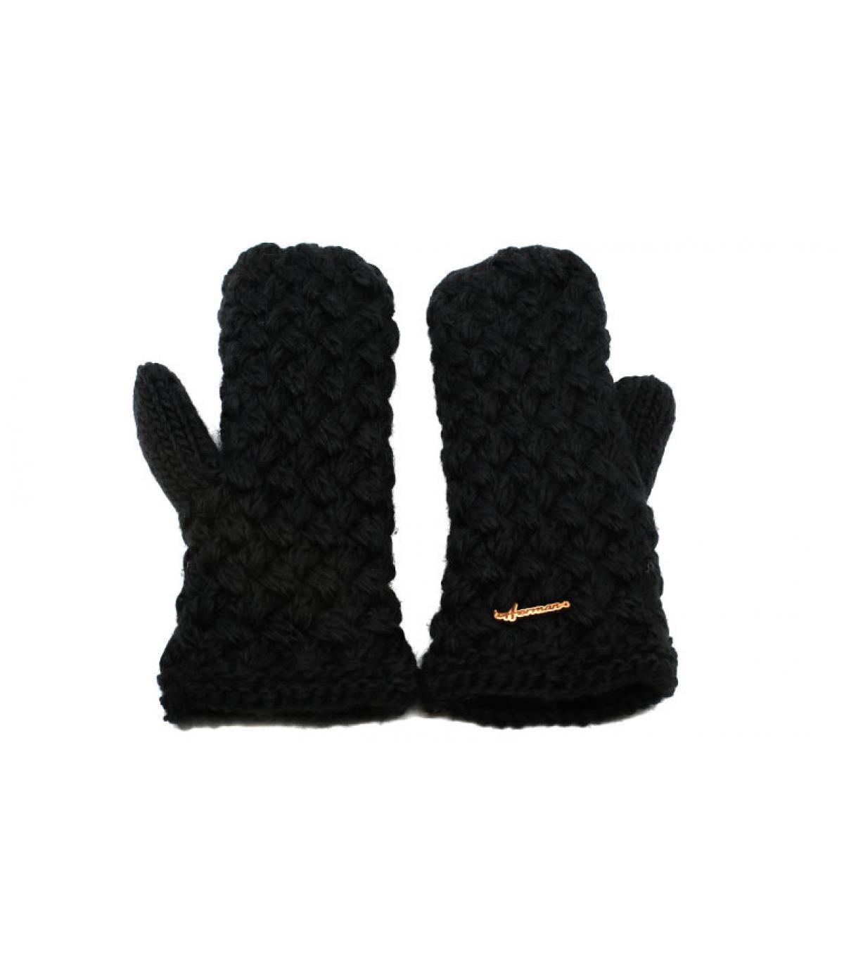 black wool mittens