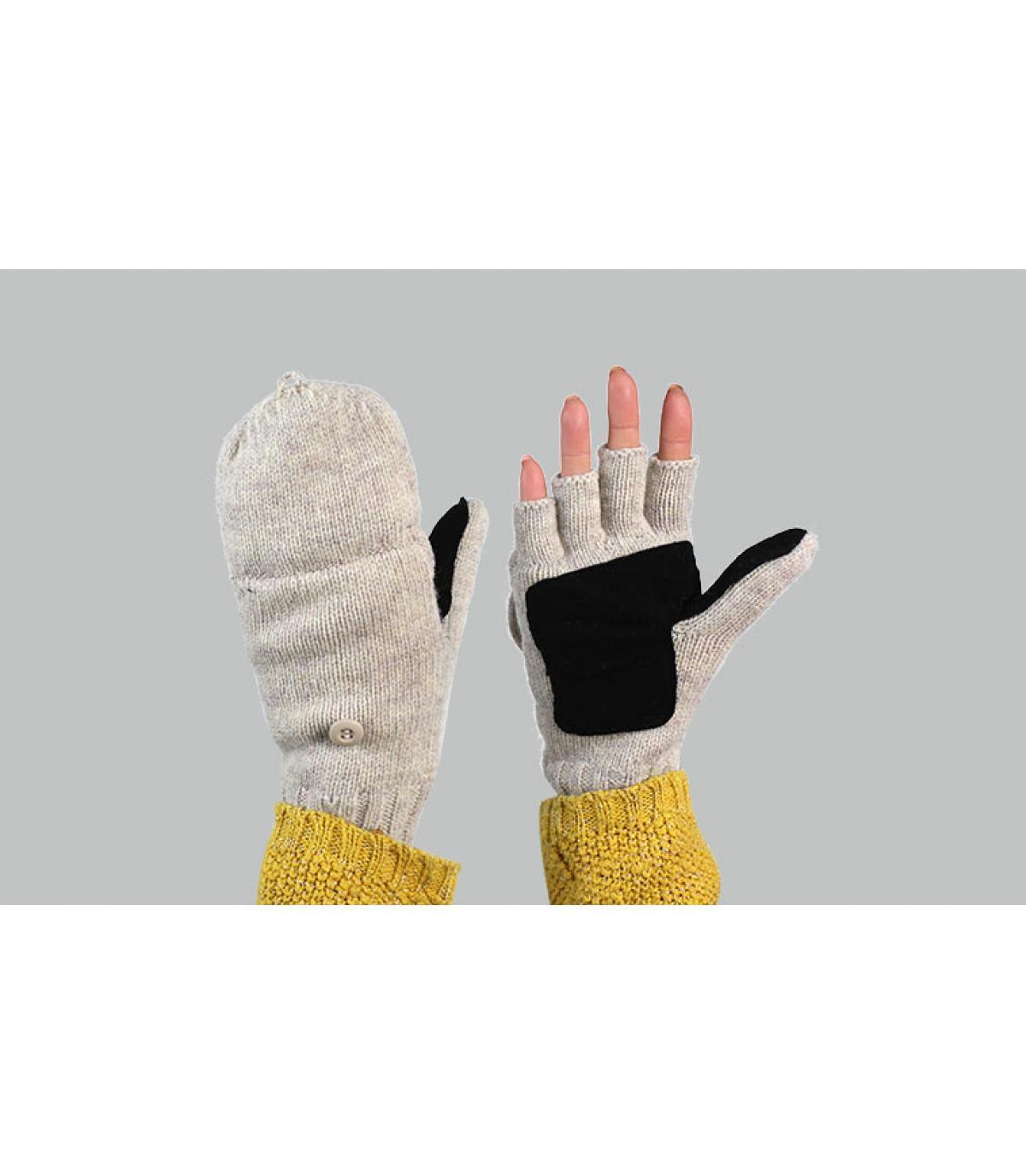 women mitten gloves grey