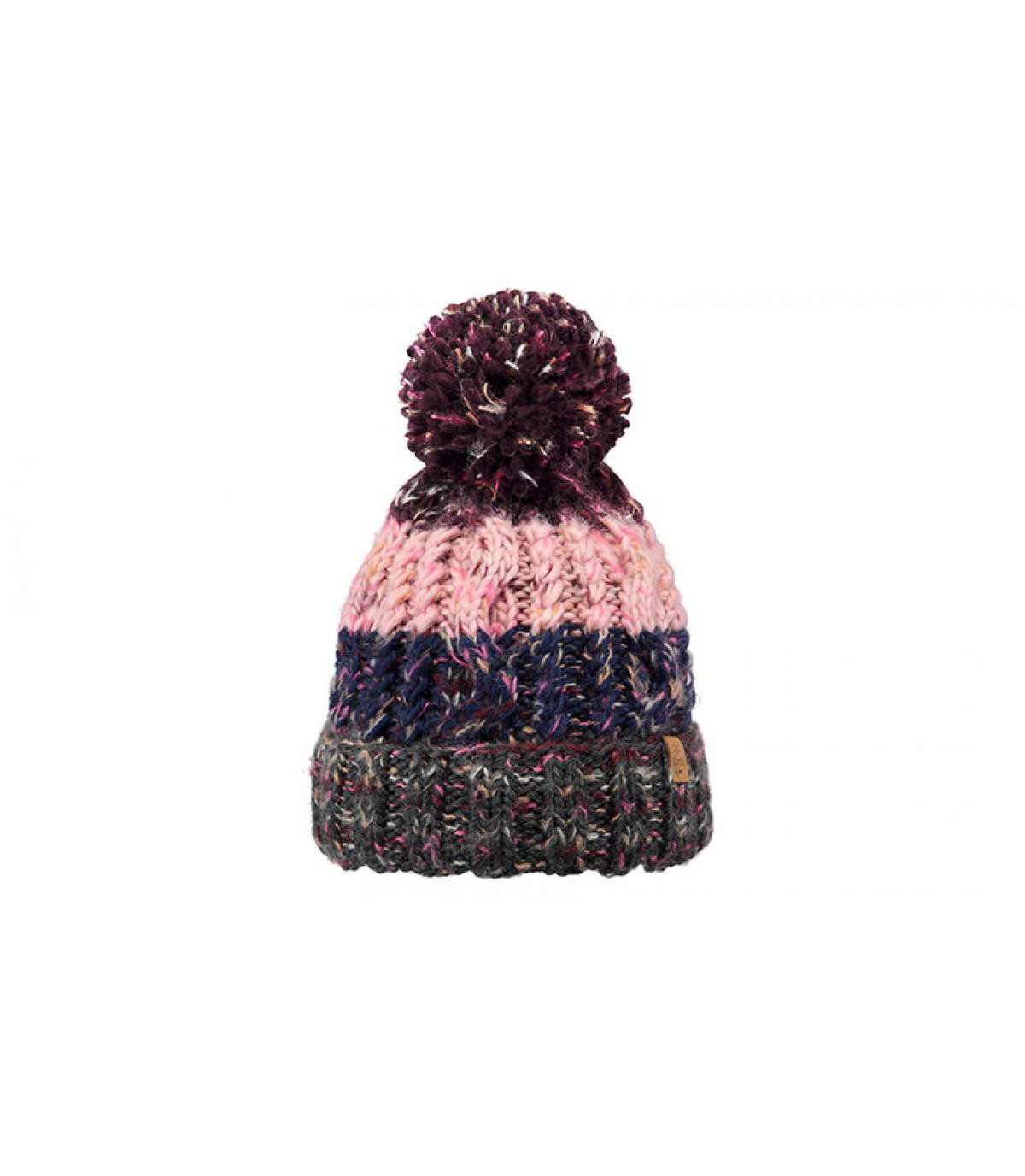 pompom beanie stripes pink grey