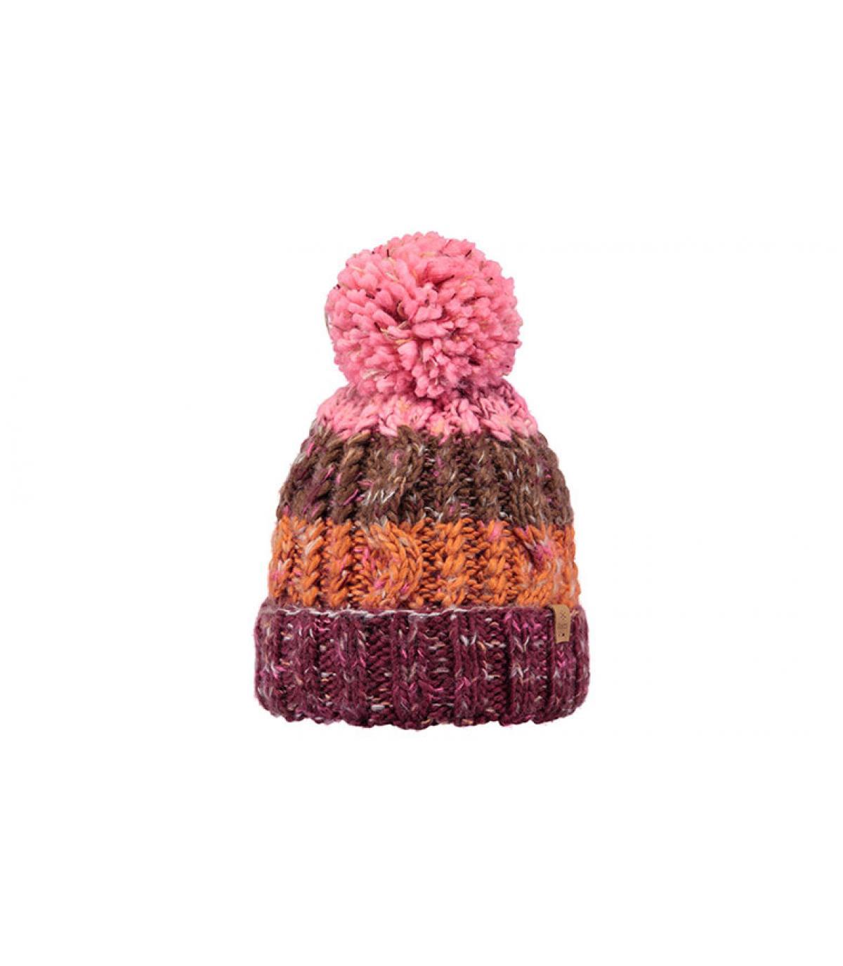 pompom beanie stripes pink orange