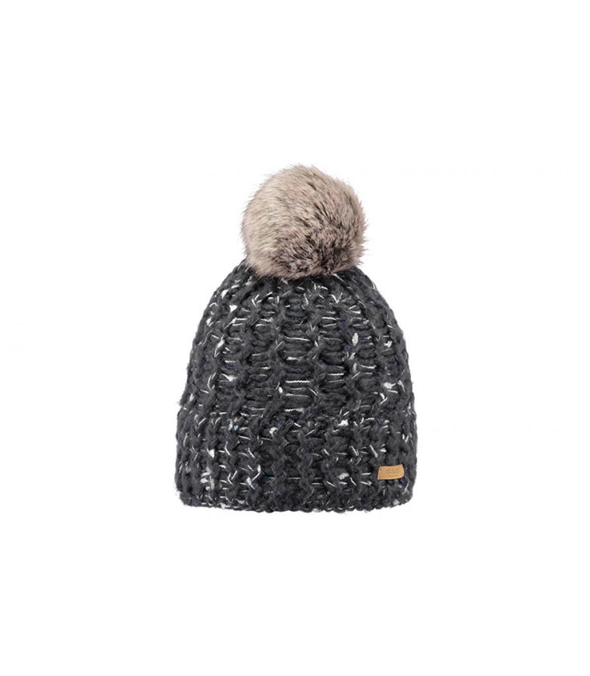heather grey beanie fur pompom