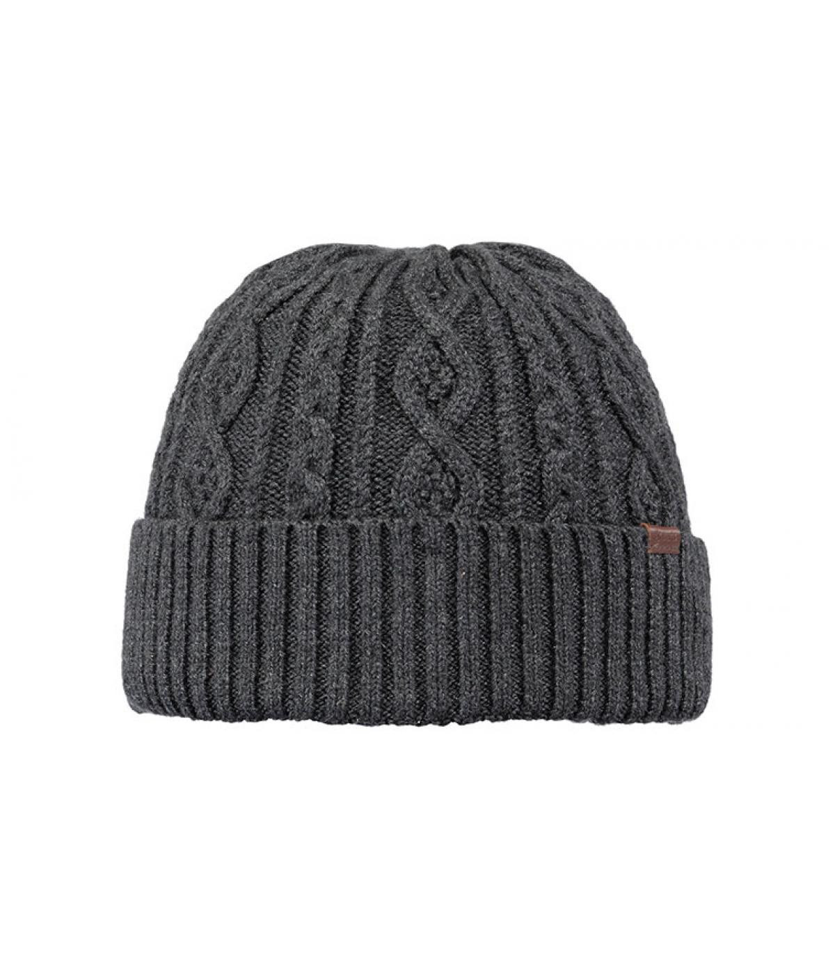 grey cuffed beanie cable knit