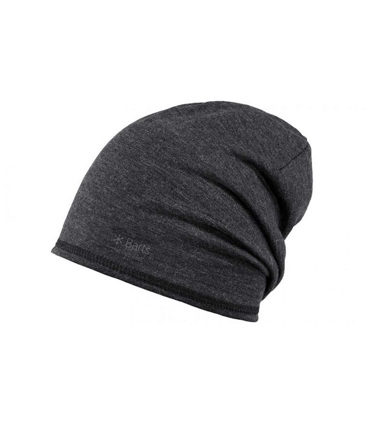 grey wool long beanie