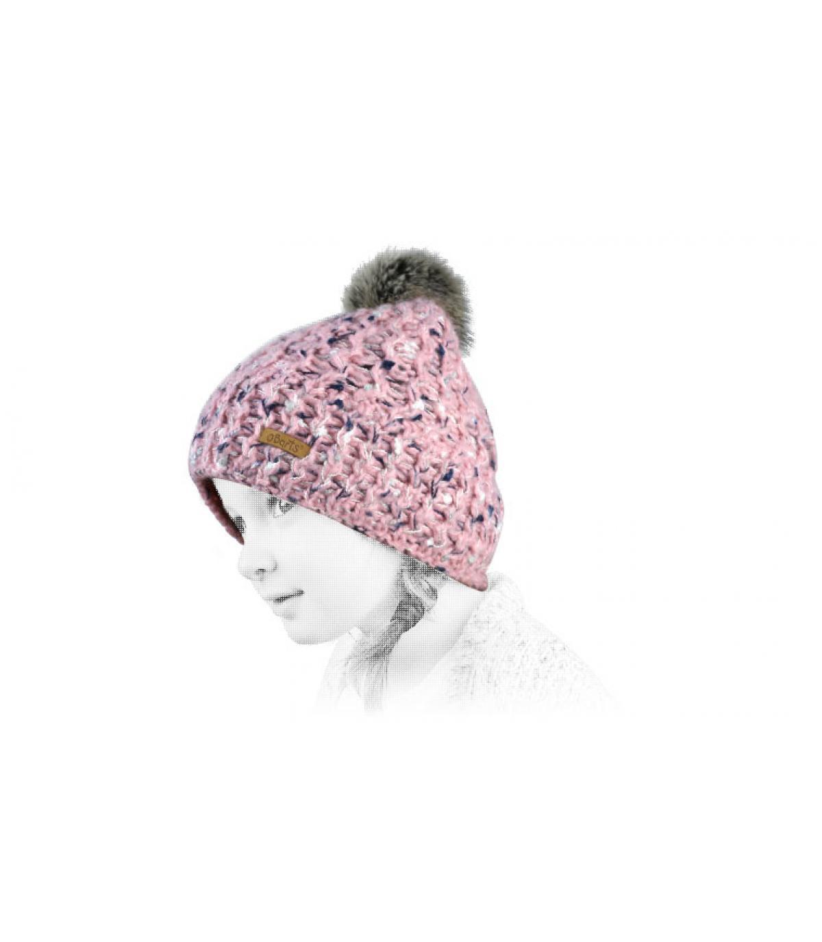 pink child beanie fur pompom