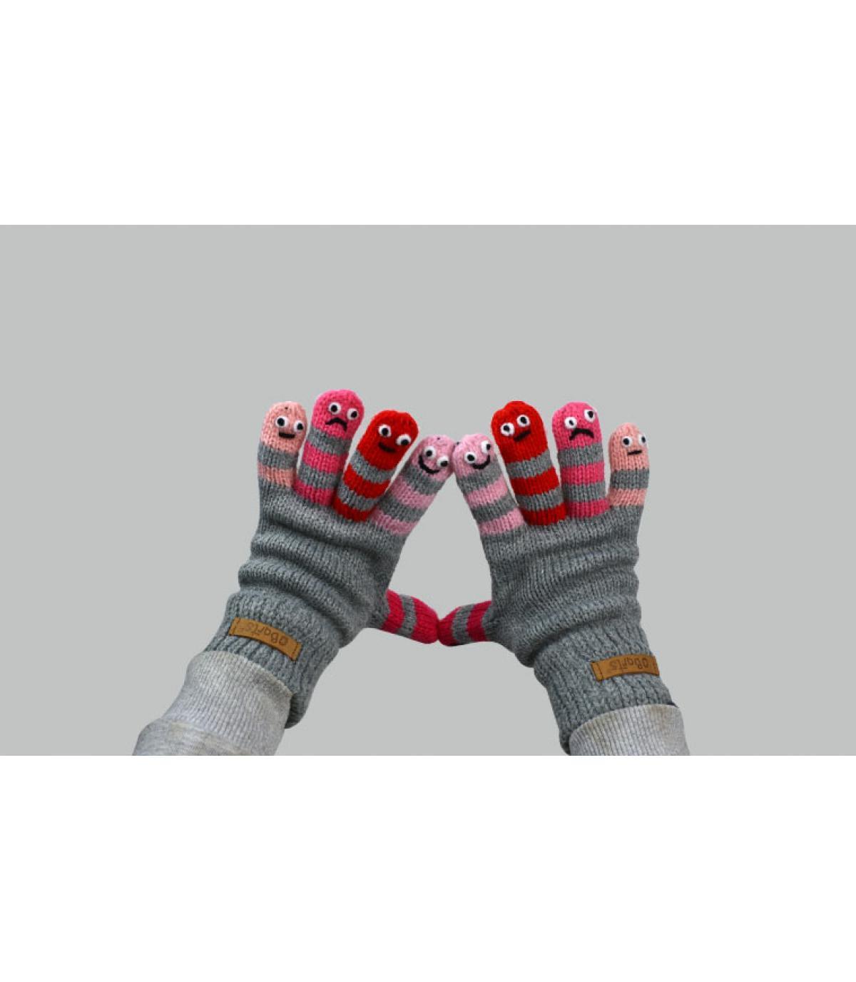 grey pink gloves kids