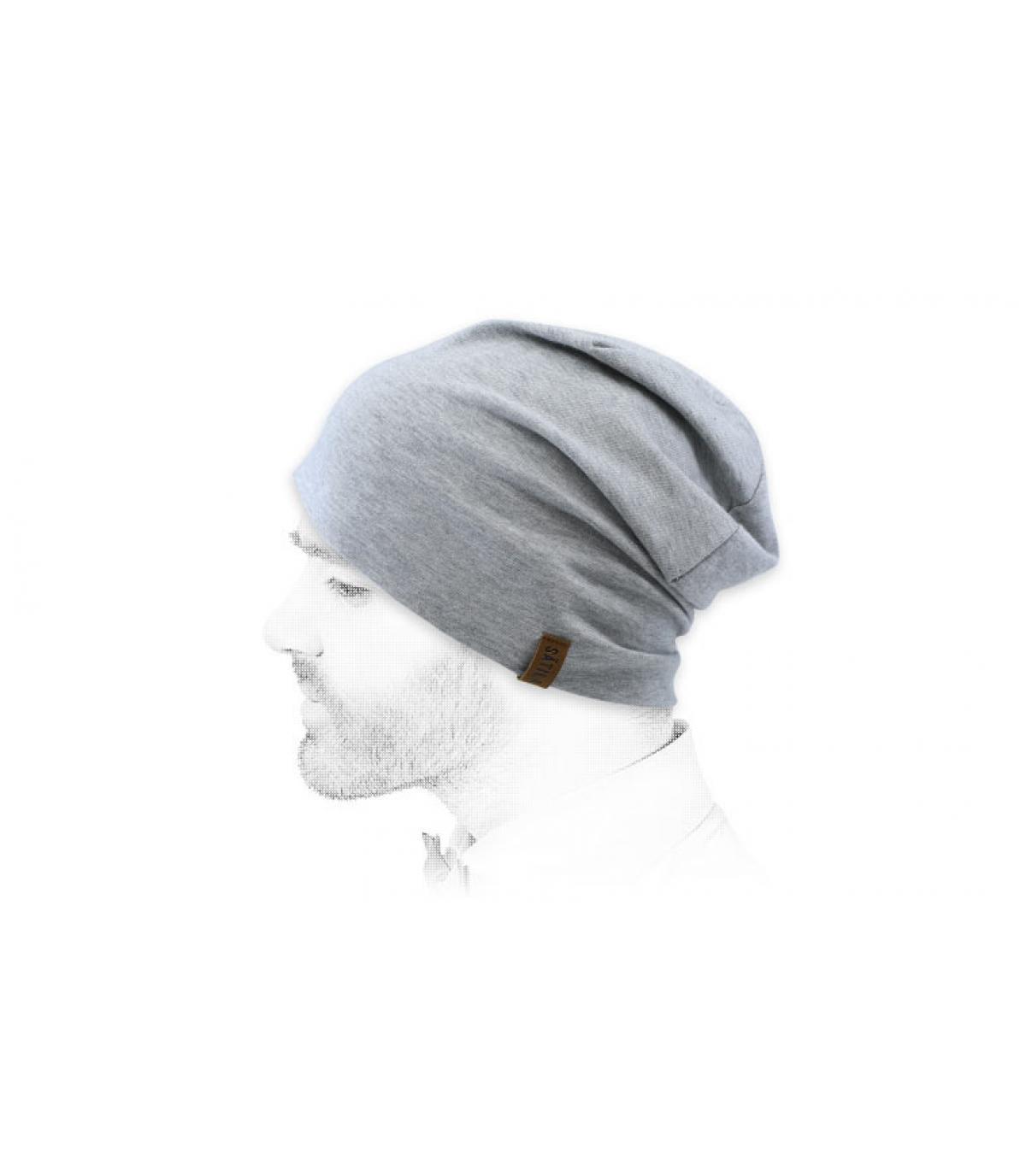 heather grey long beanie