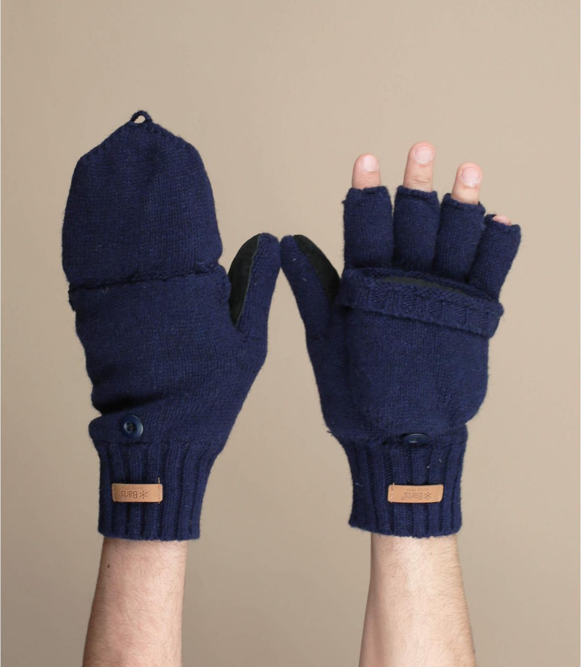 Blue mittens gloves