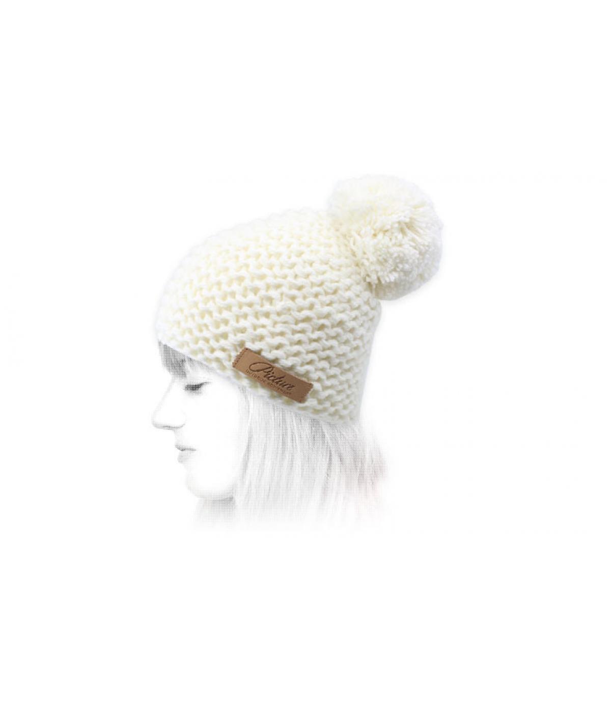 Picture white pompom beanie