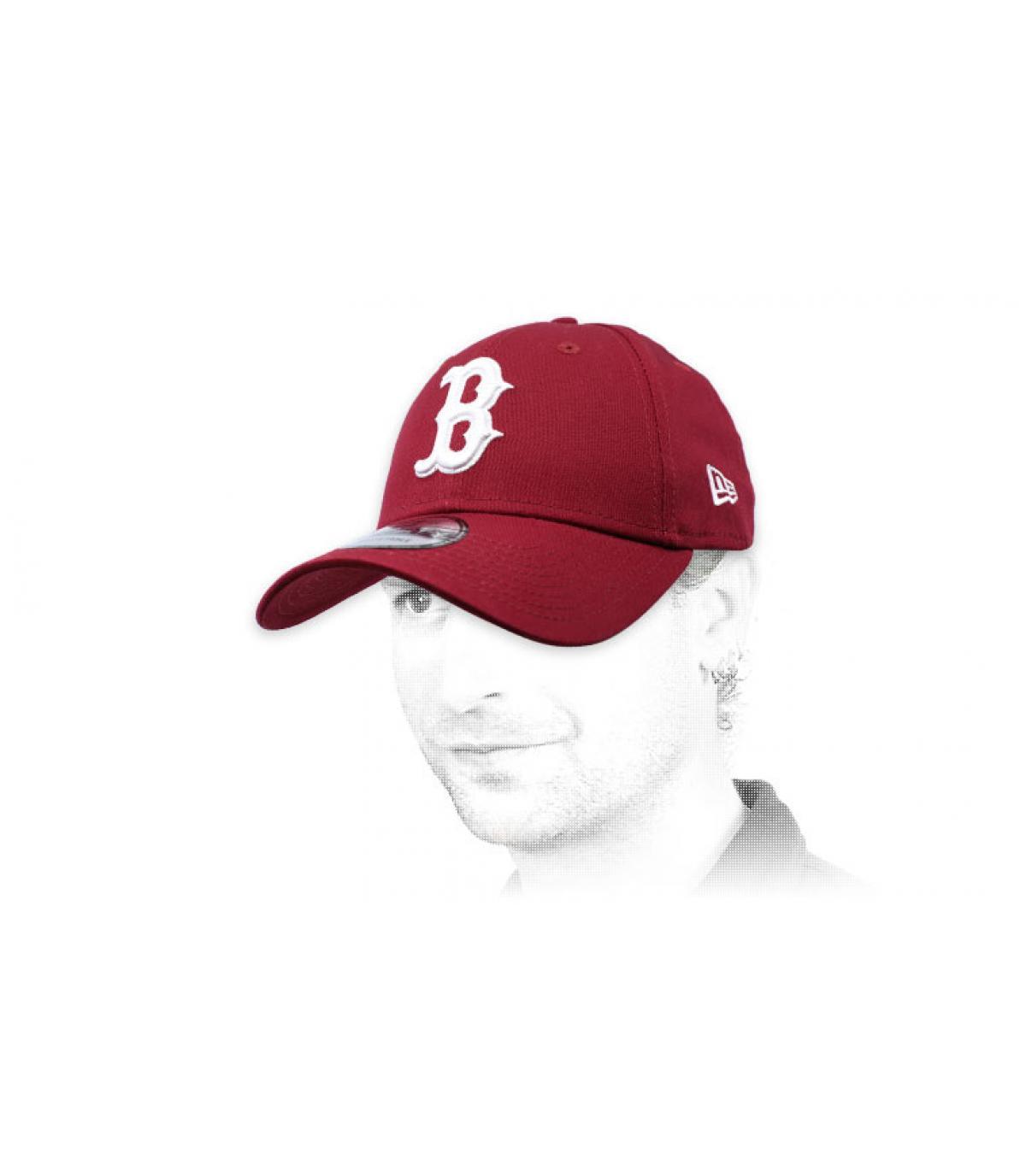 B burgundy curve cap