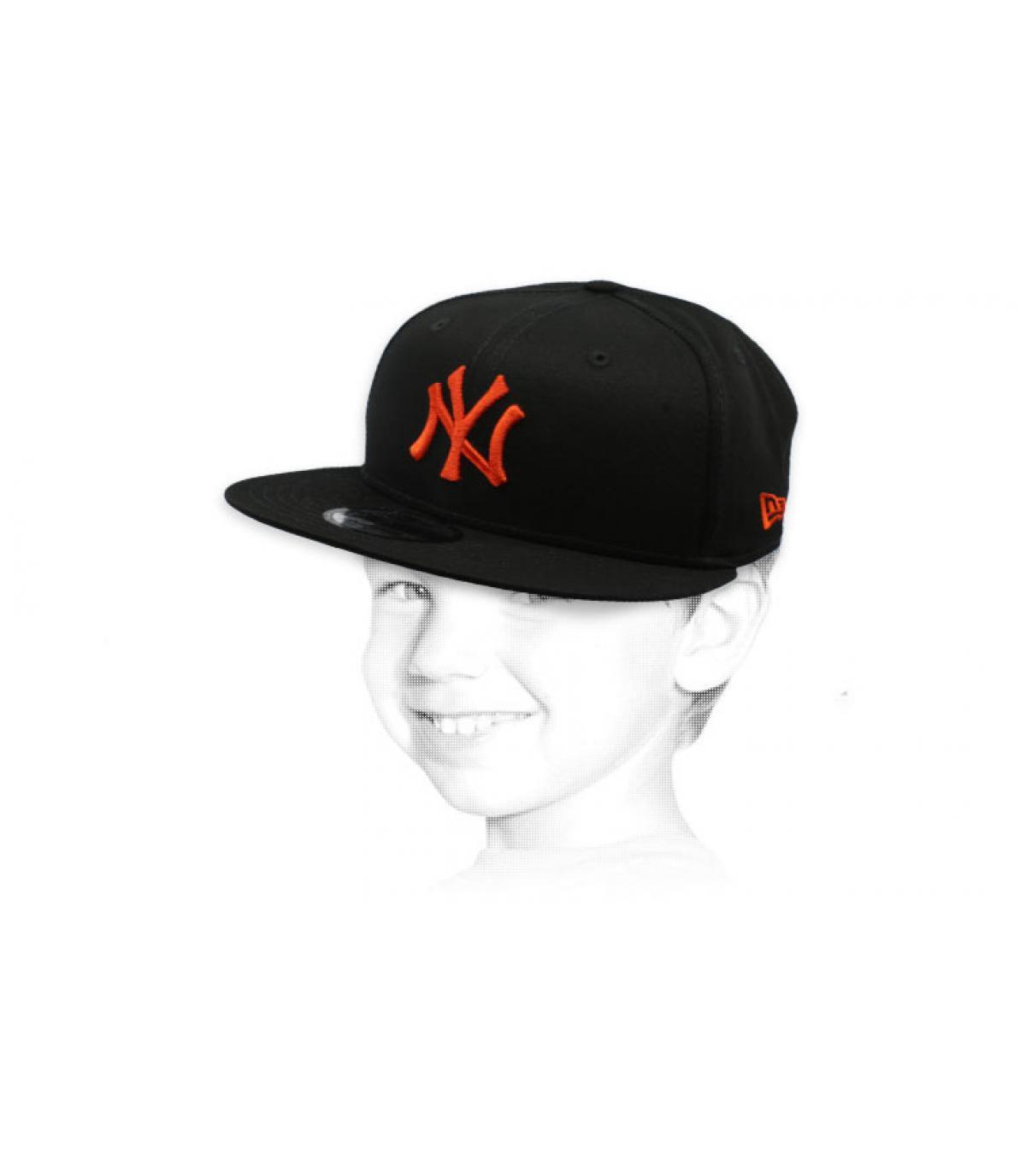 kid black orange NY snapback