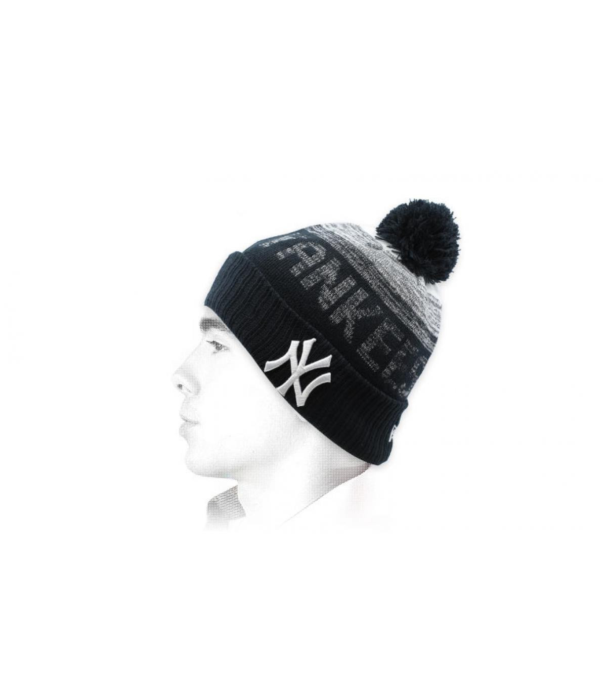 Yankees beanie black pompom