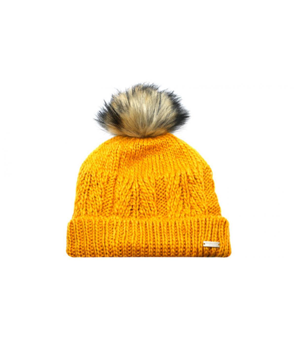 yellow beanie fur pompom