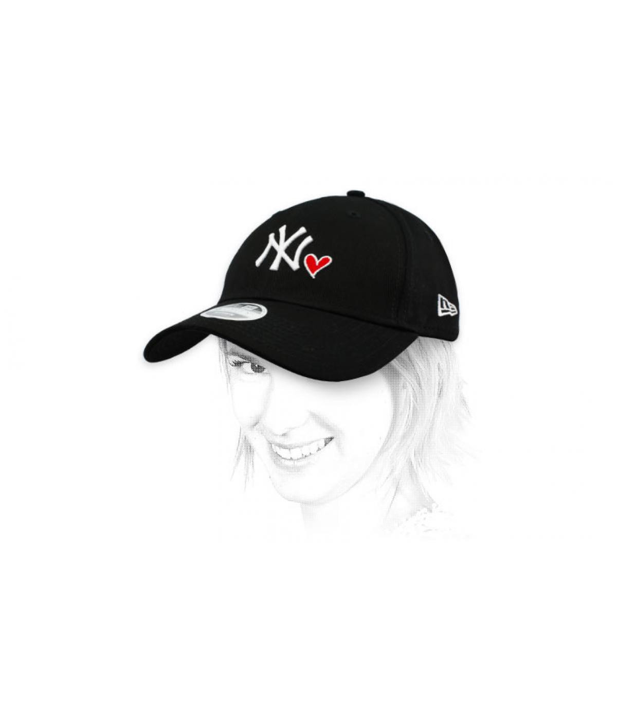 women black NY heart cap