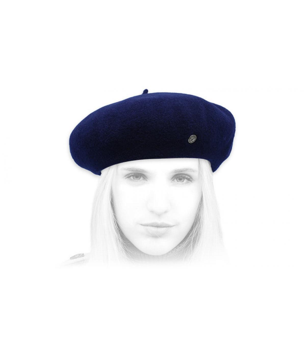 navy blue cashmere beret