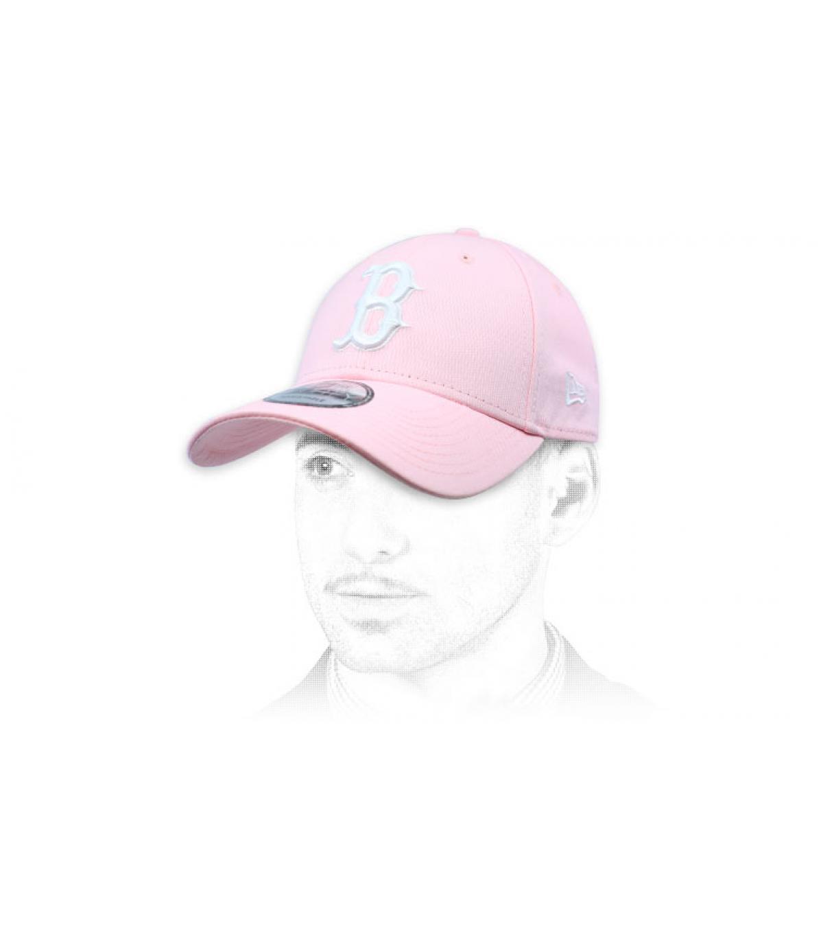 white pink B cap