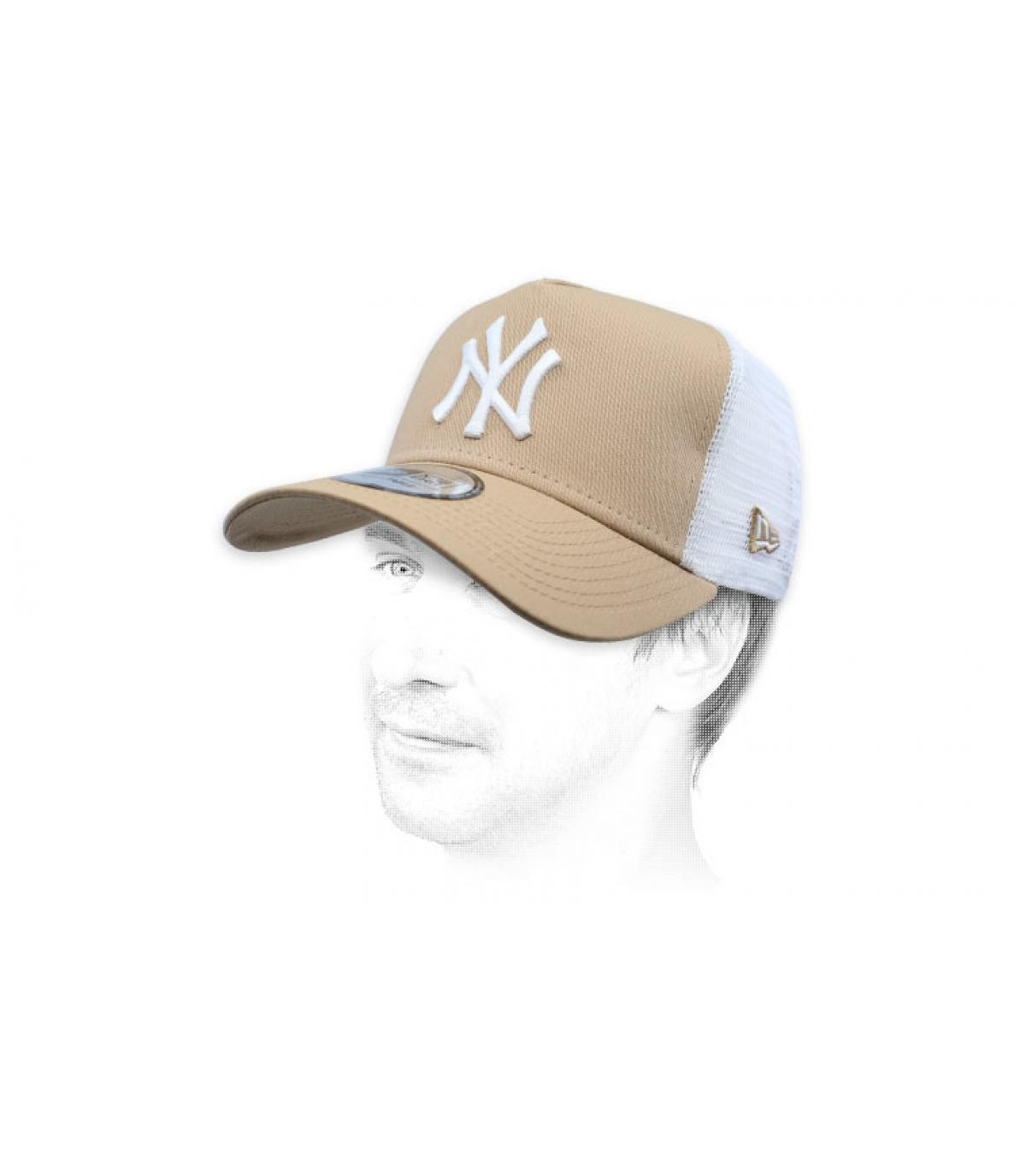 NY beige white trucker