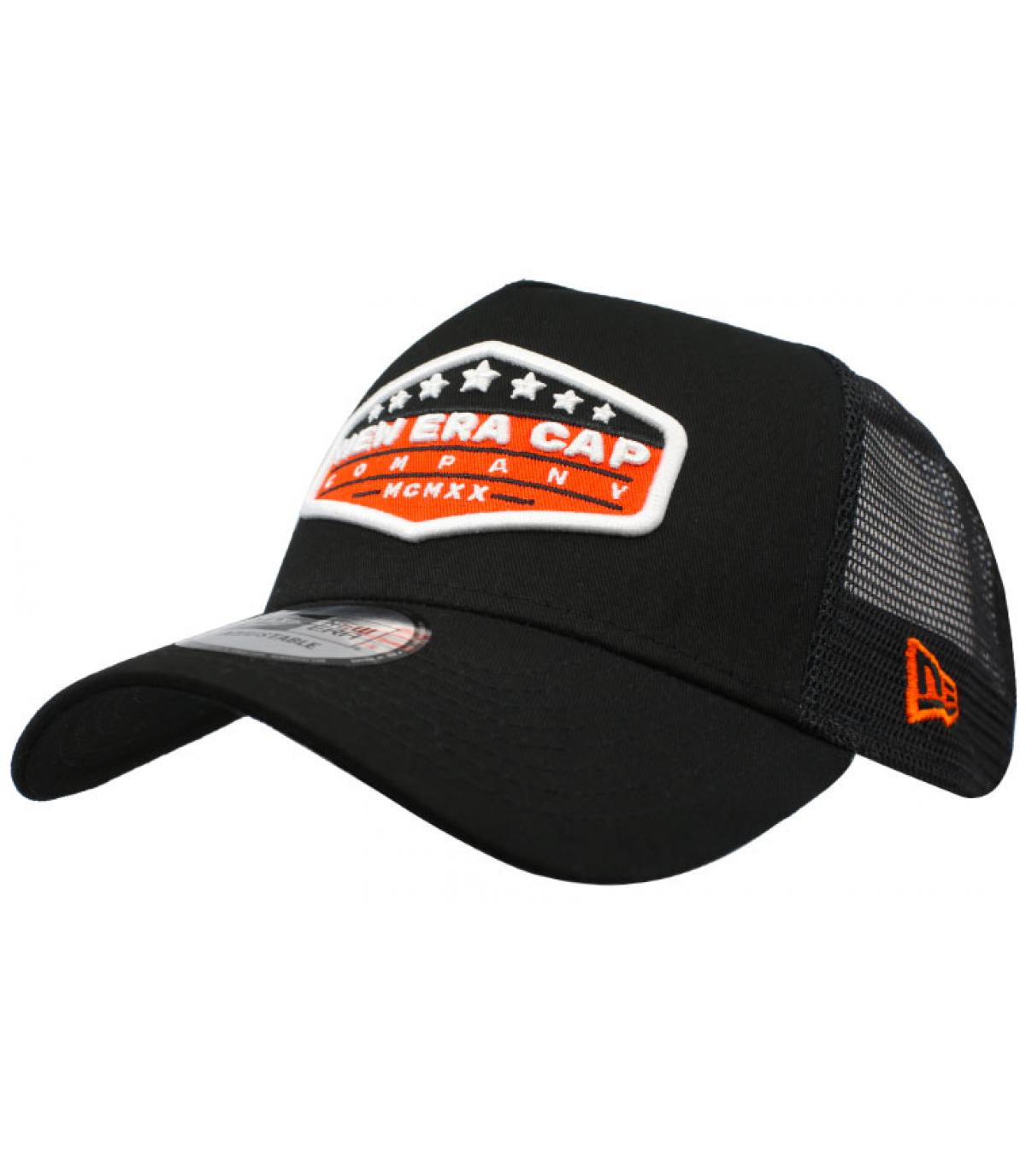 black orange New Era trucker