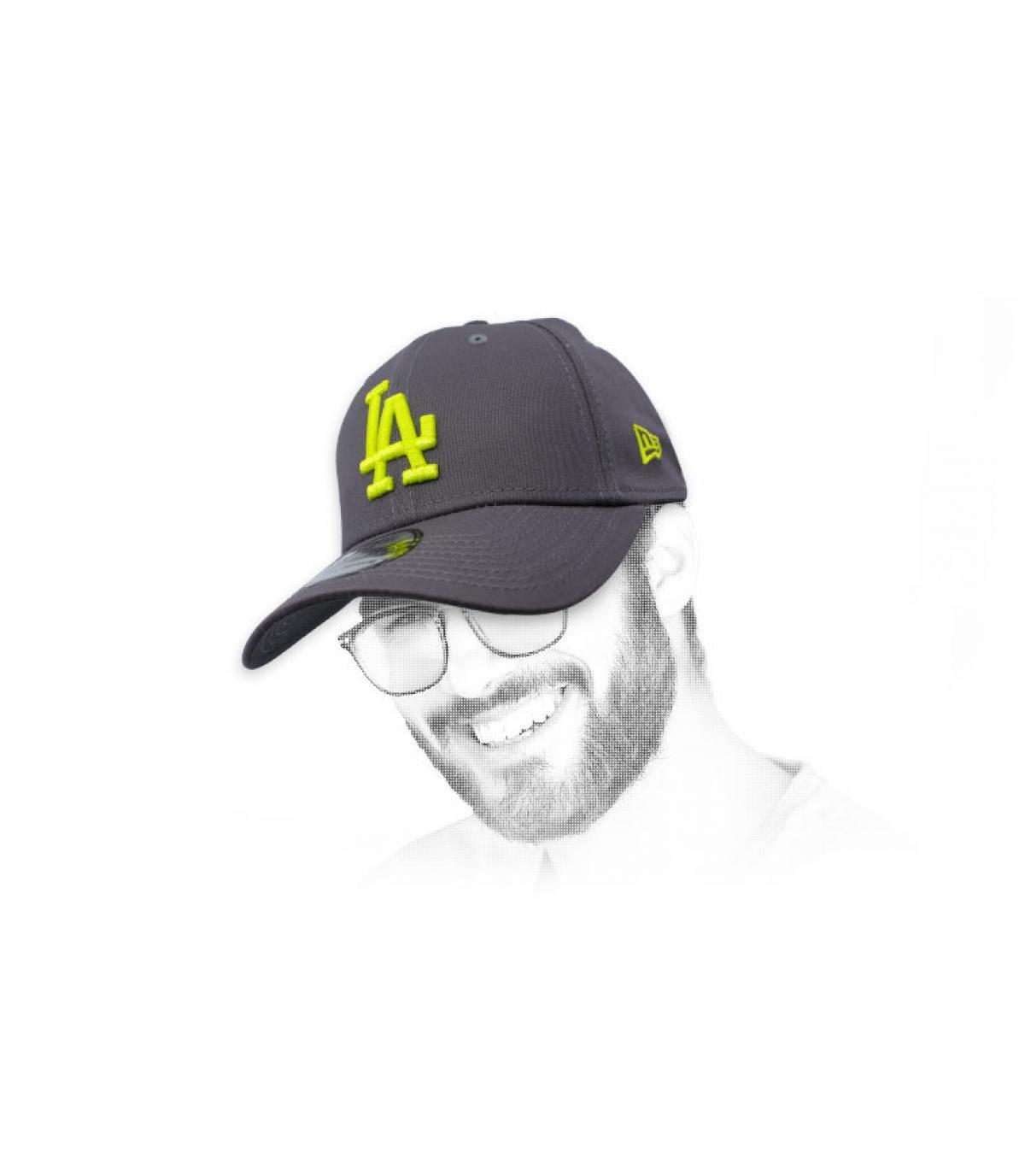 grey and yellow LA cap