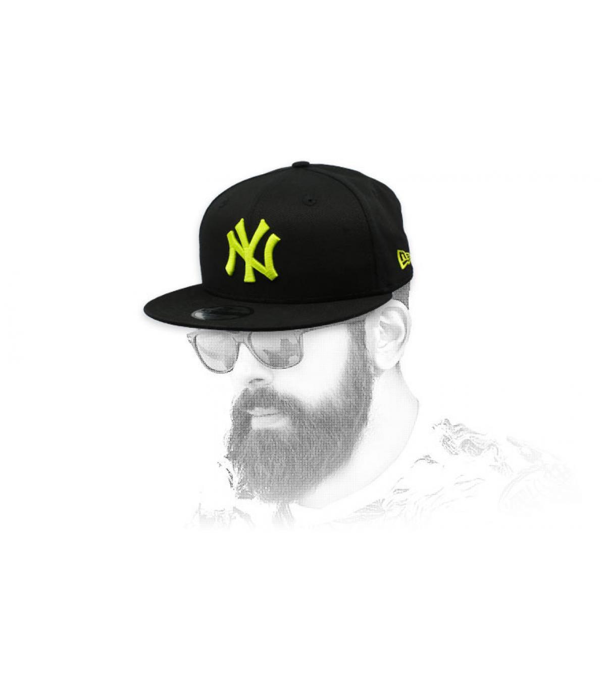 black yellow NY snapback