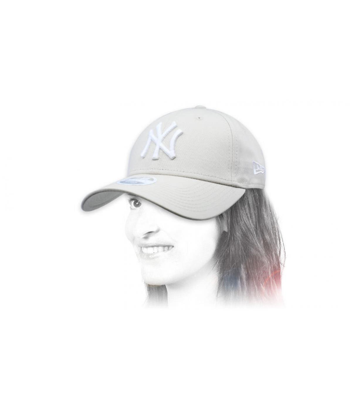 beige women cap NY