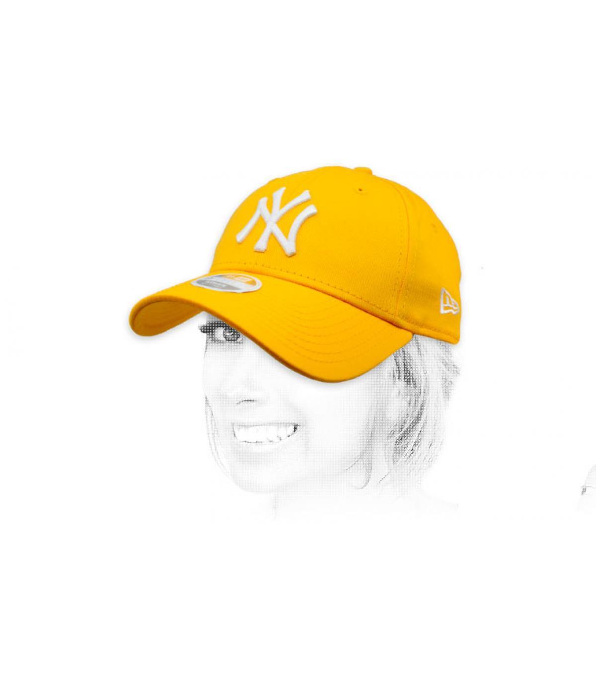 yellow women NY cap