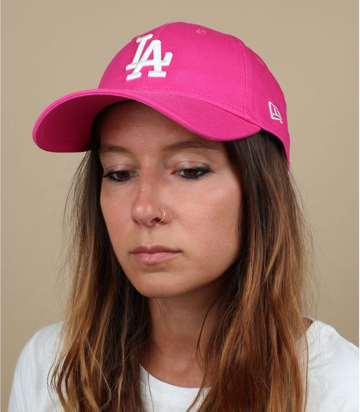women LA cap pink