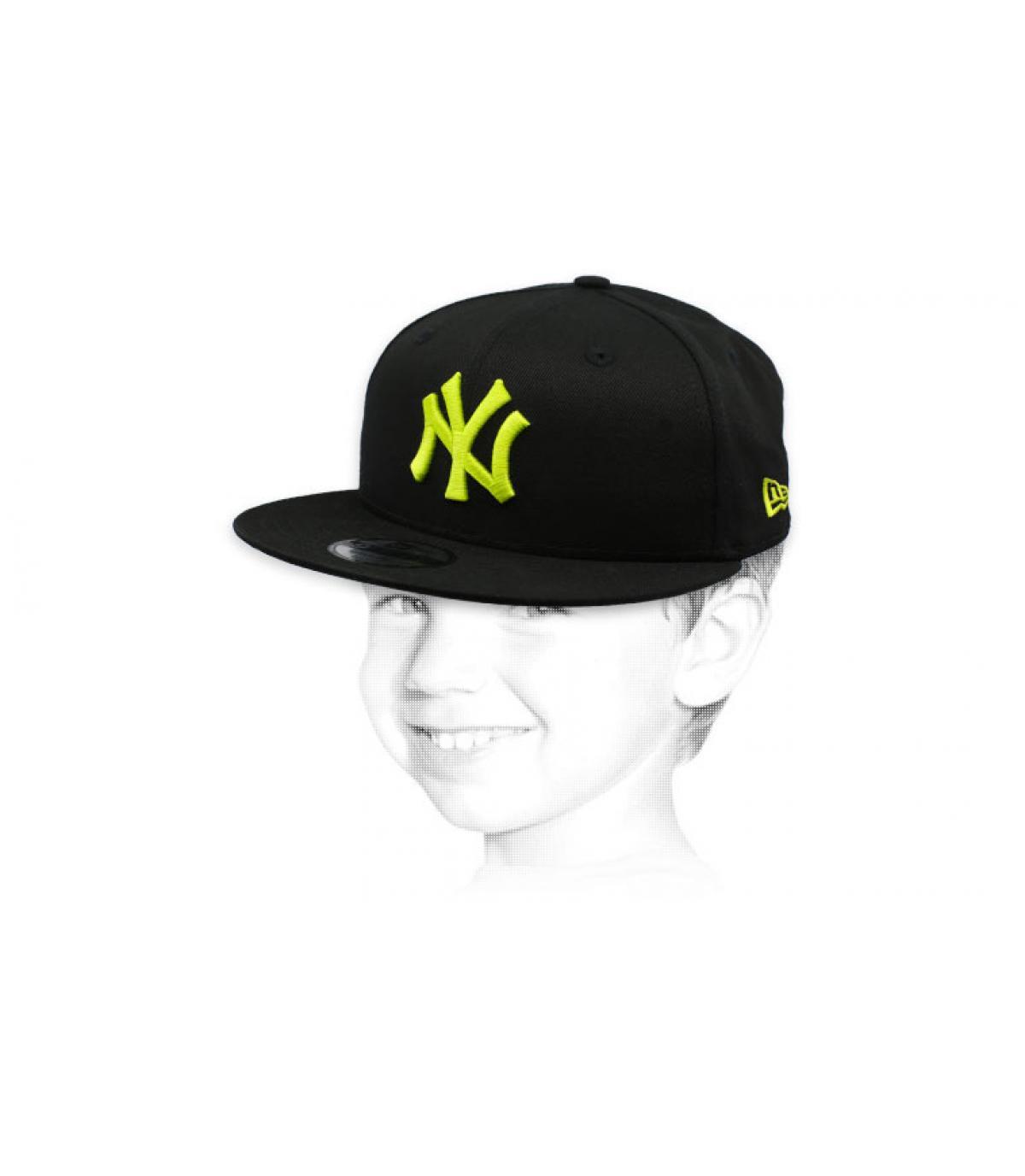 NY child cap black yellow