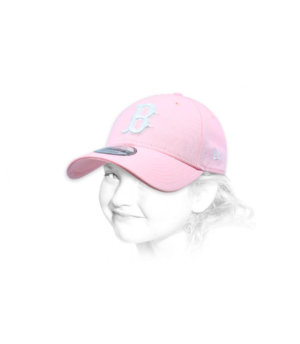 pink B kid cap