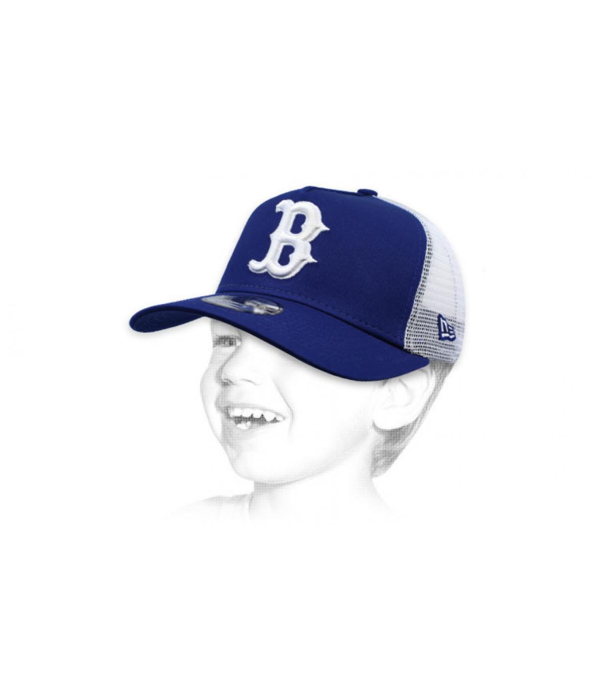 child blue B trucker