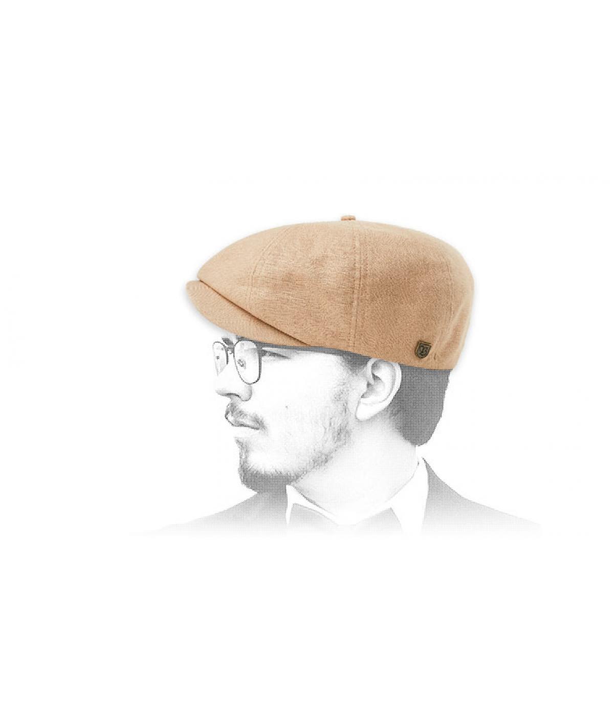 beige newsboy cap linen
