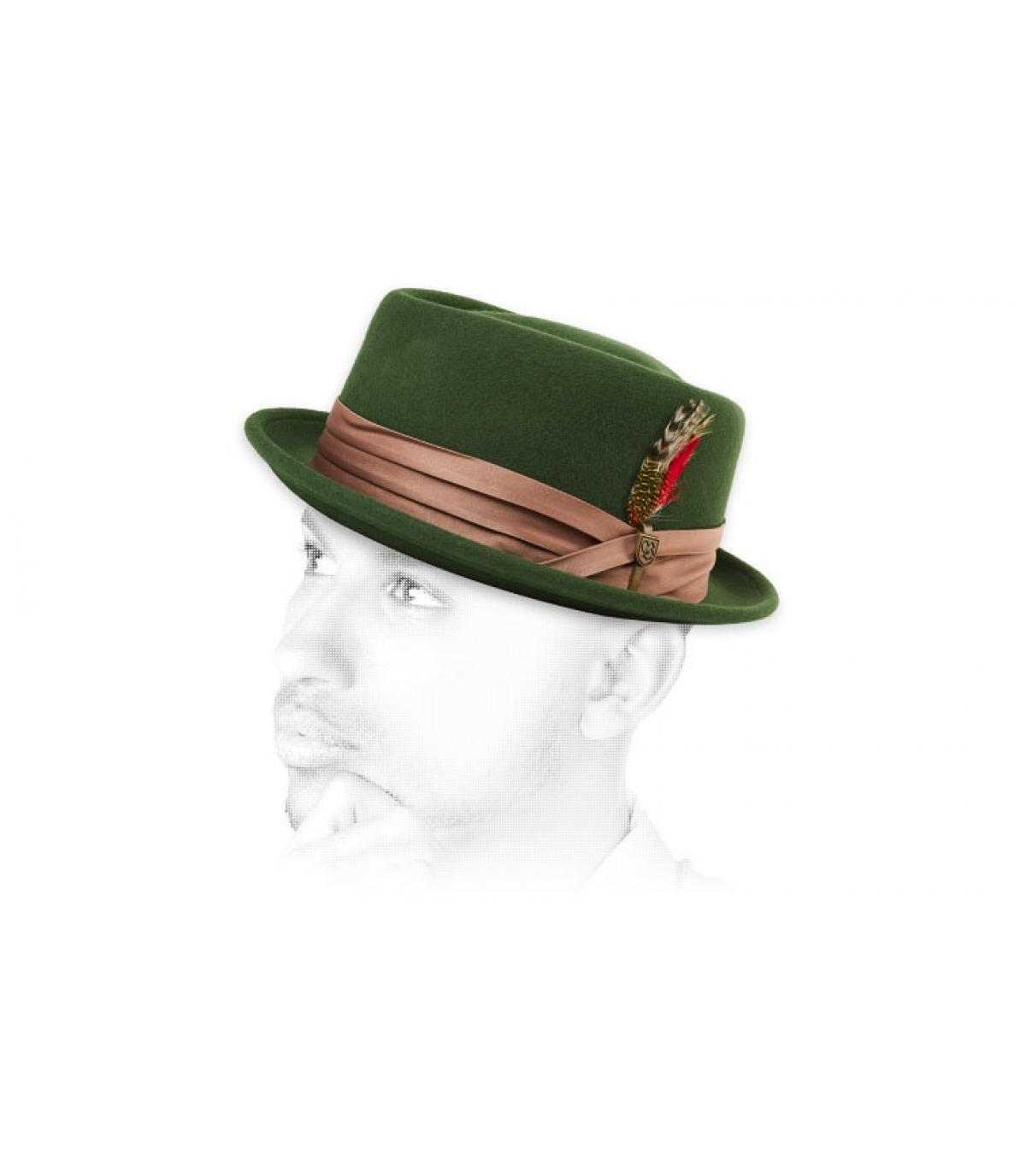 green felt pork pie feather. green felt pork pie feather. Brixton Stout  moss bronze e1dd1af96af3