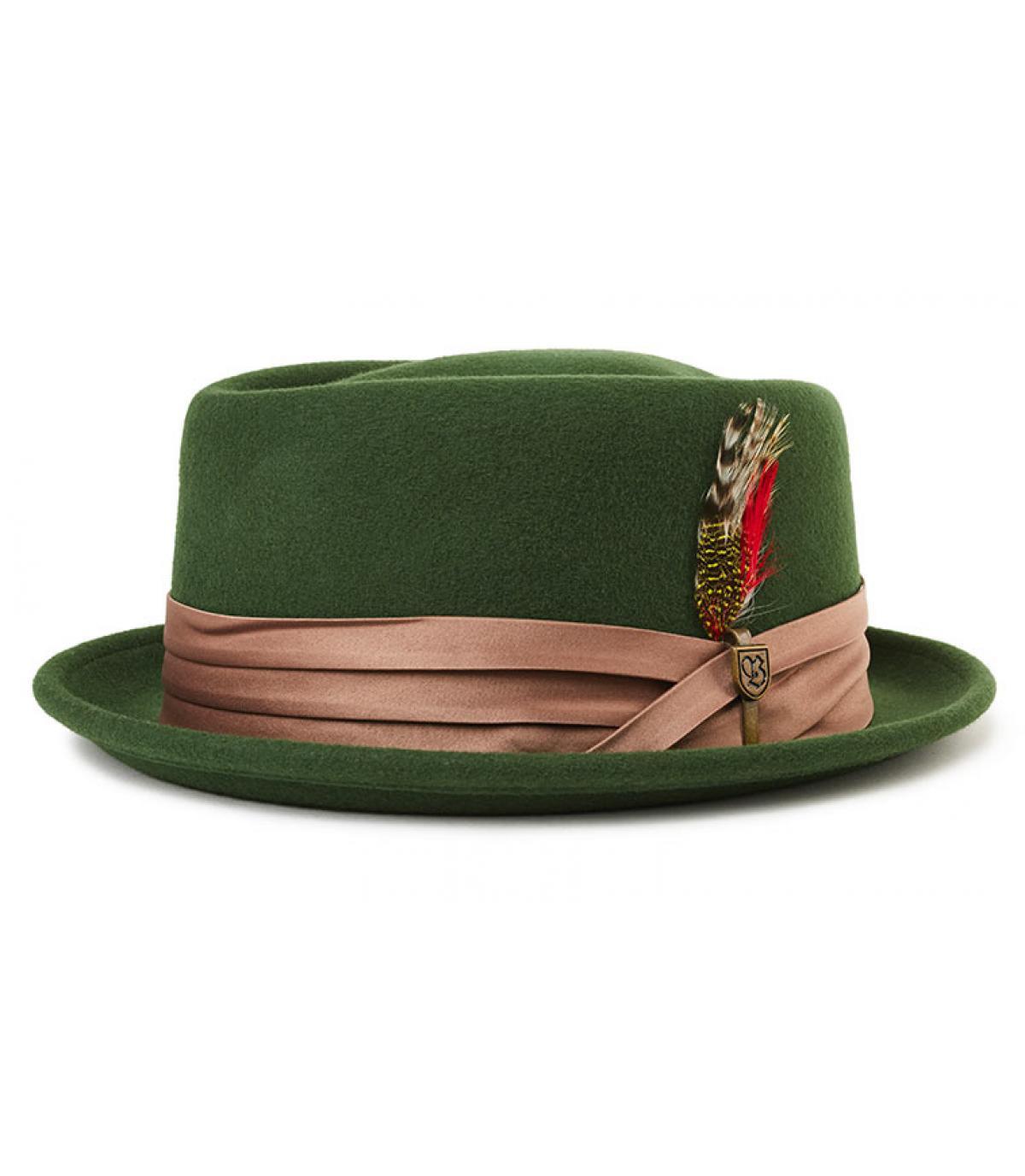green felt pork pie feather - Stout moss bronze Brixton - image 1 ... 95a82015bd9
