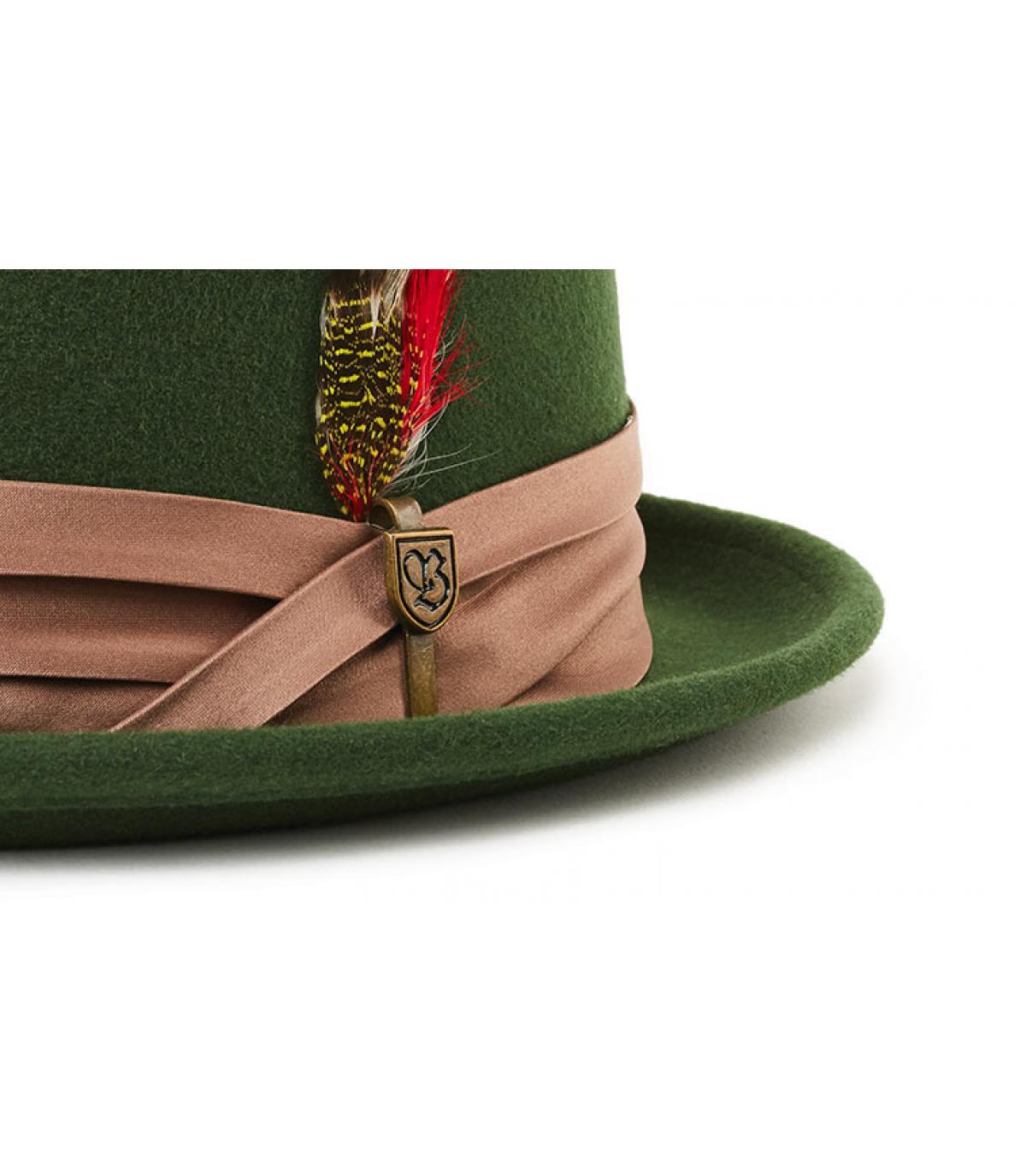 Brixton. green felt pork pie feather. Détails Stout moss bronze - image 3  ... 37d8ed3bf993
