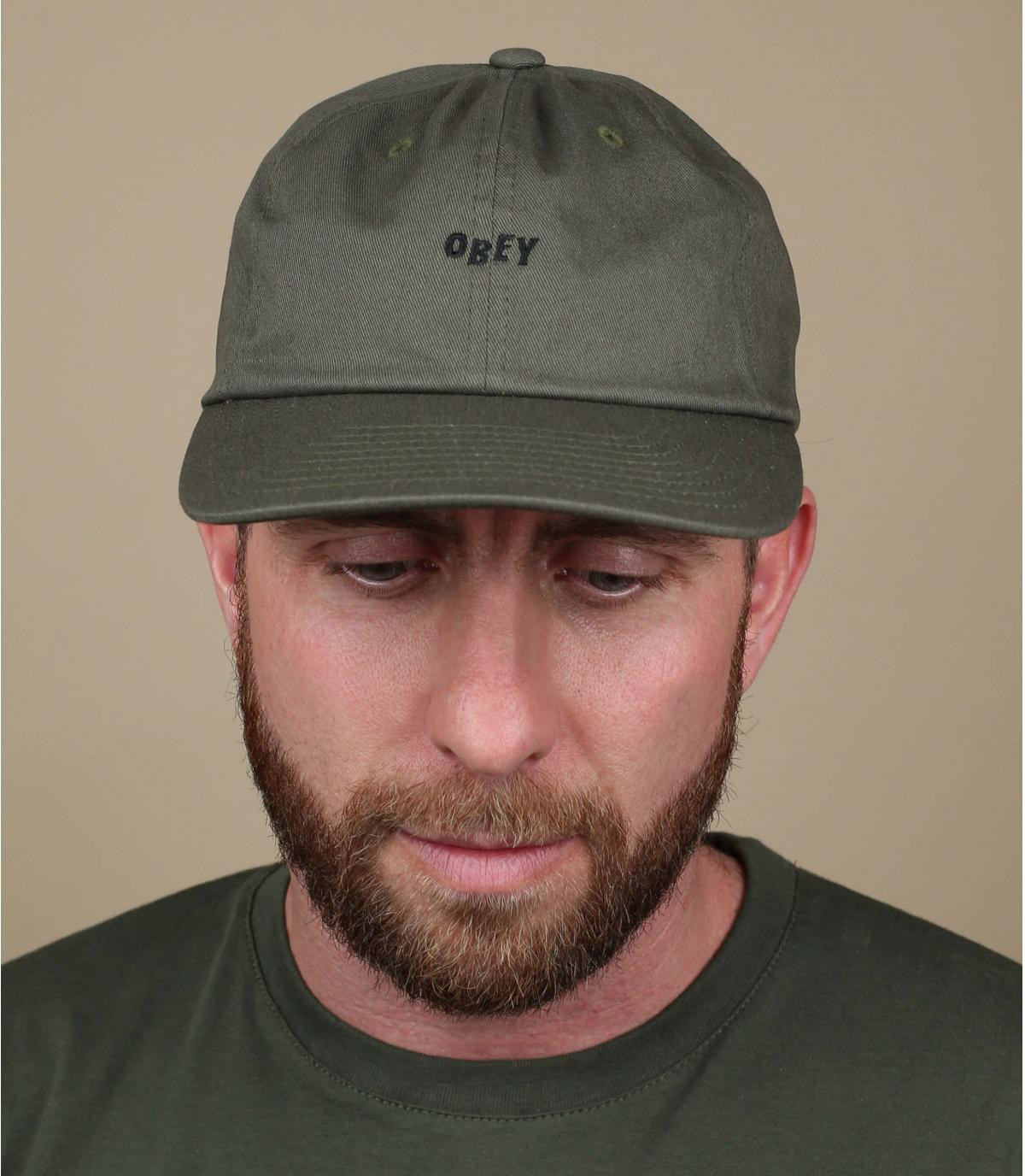 olive green Obey cap