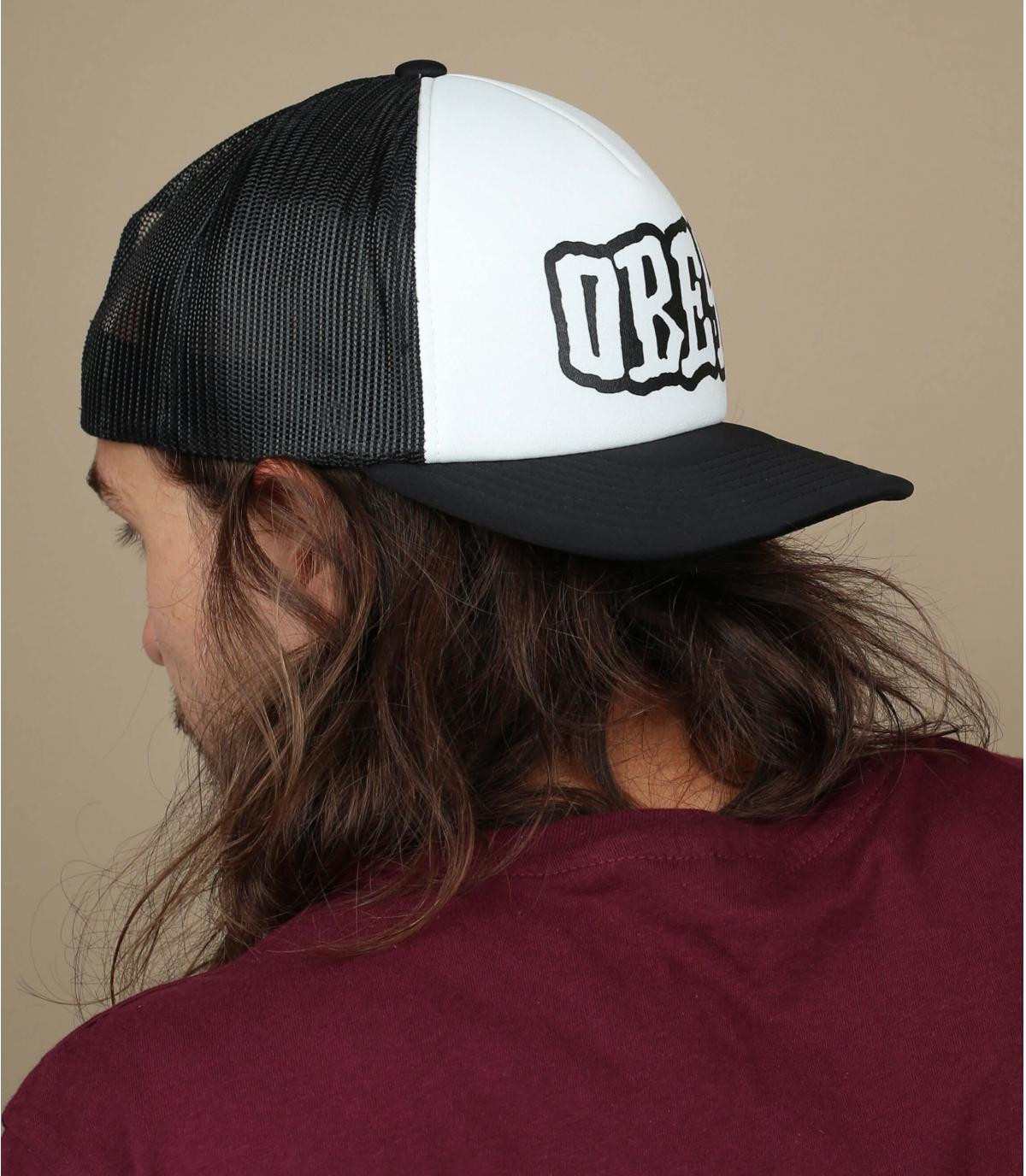 black and white Obey trucker