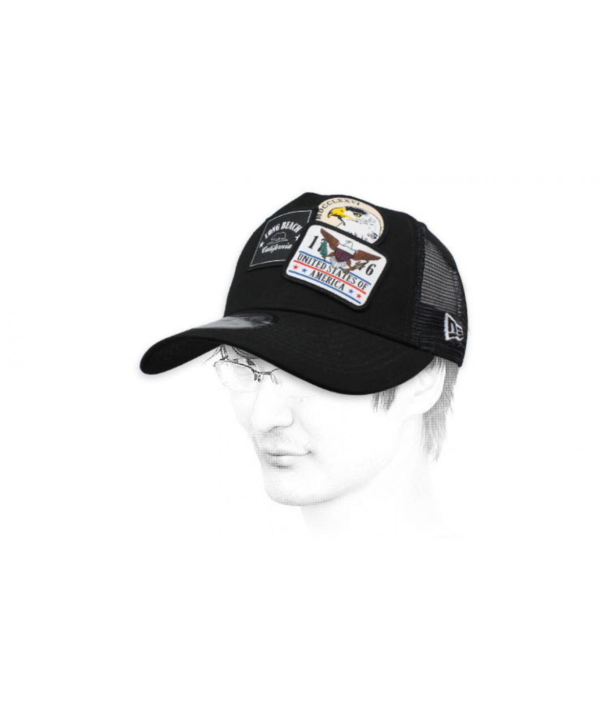 black USA trucker patch