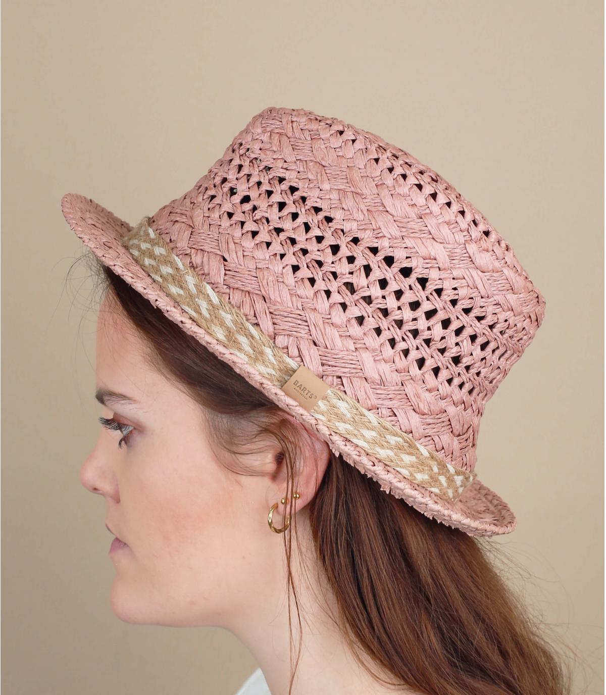 pink straw trilby