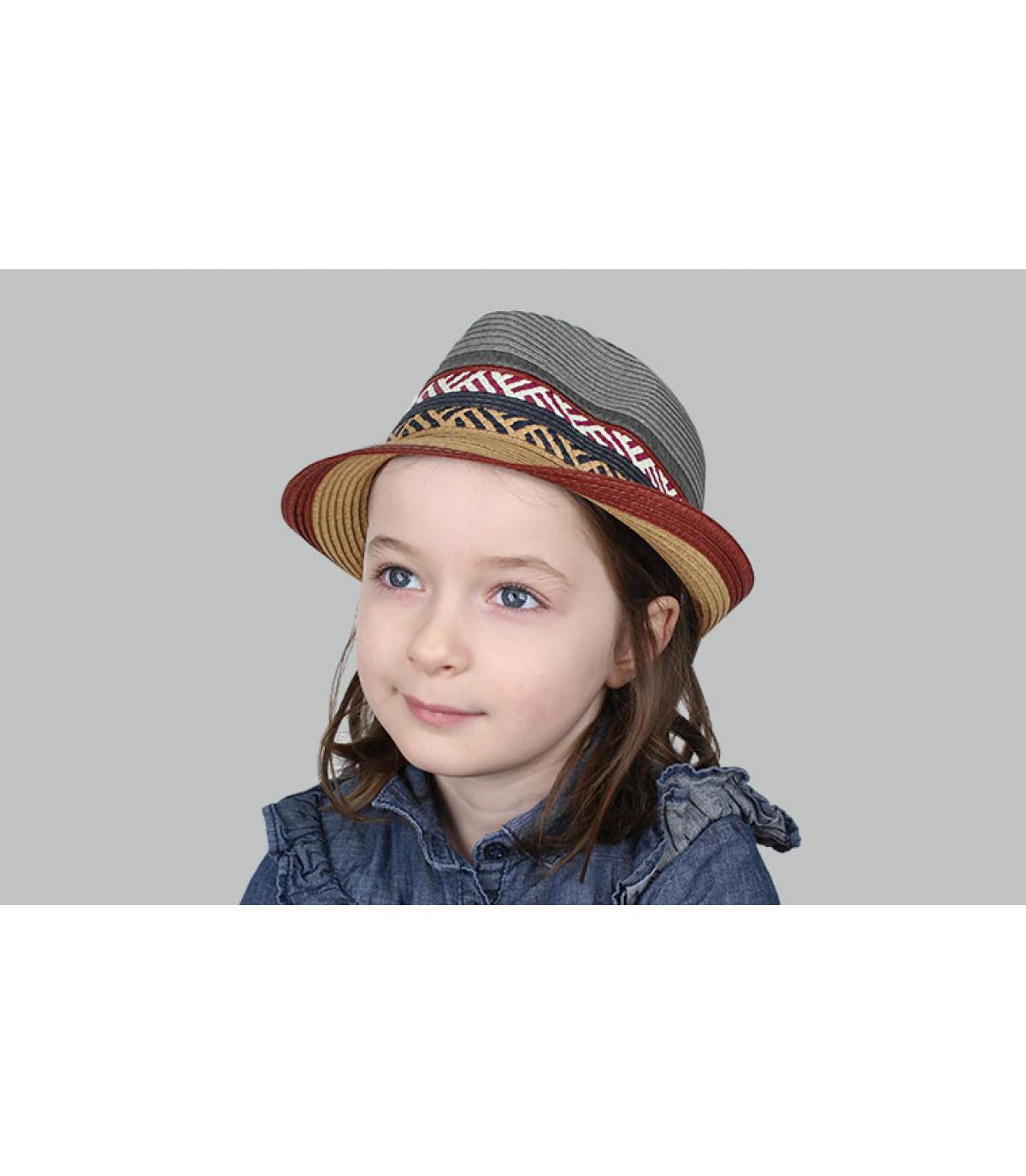 grey burgundy kids straw hat