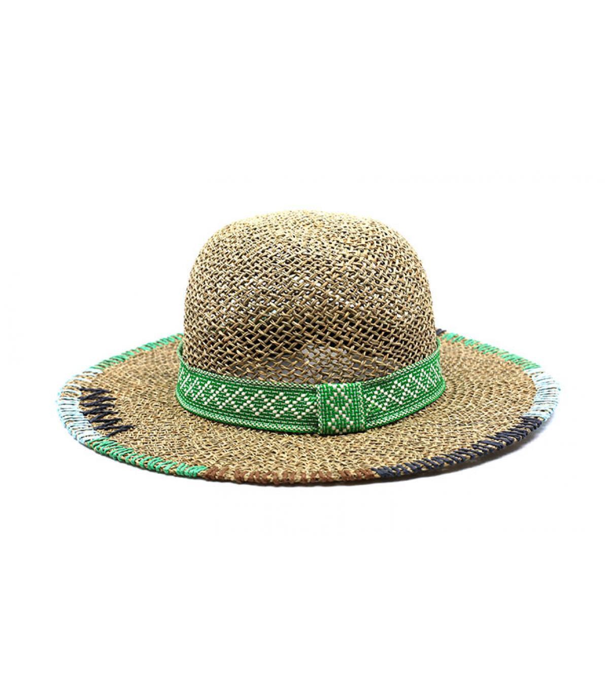 beige green straw wide brimmed hat