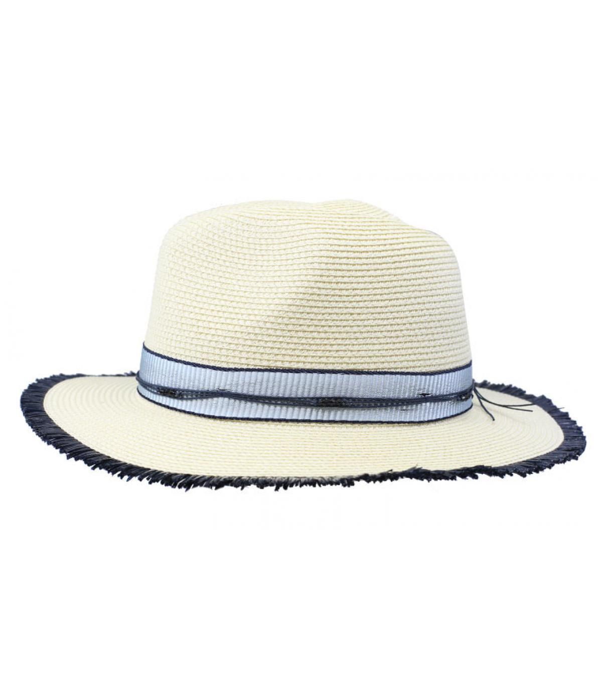 straw hat blue white