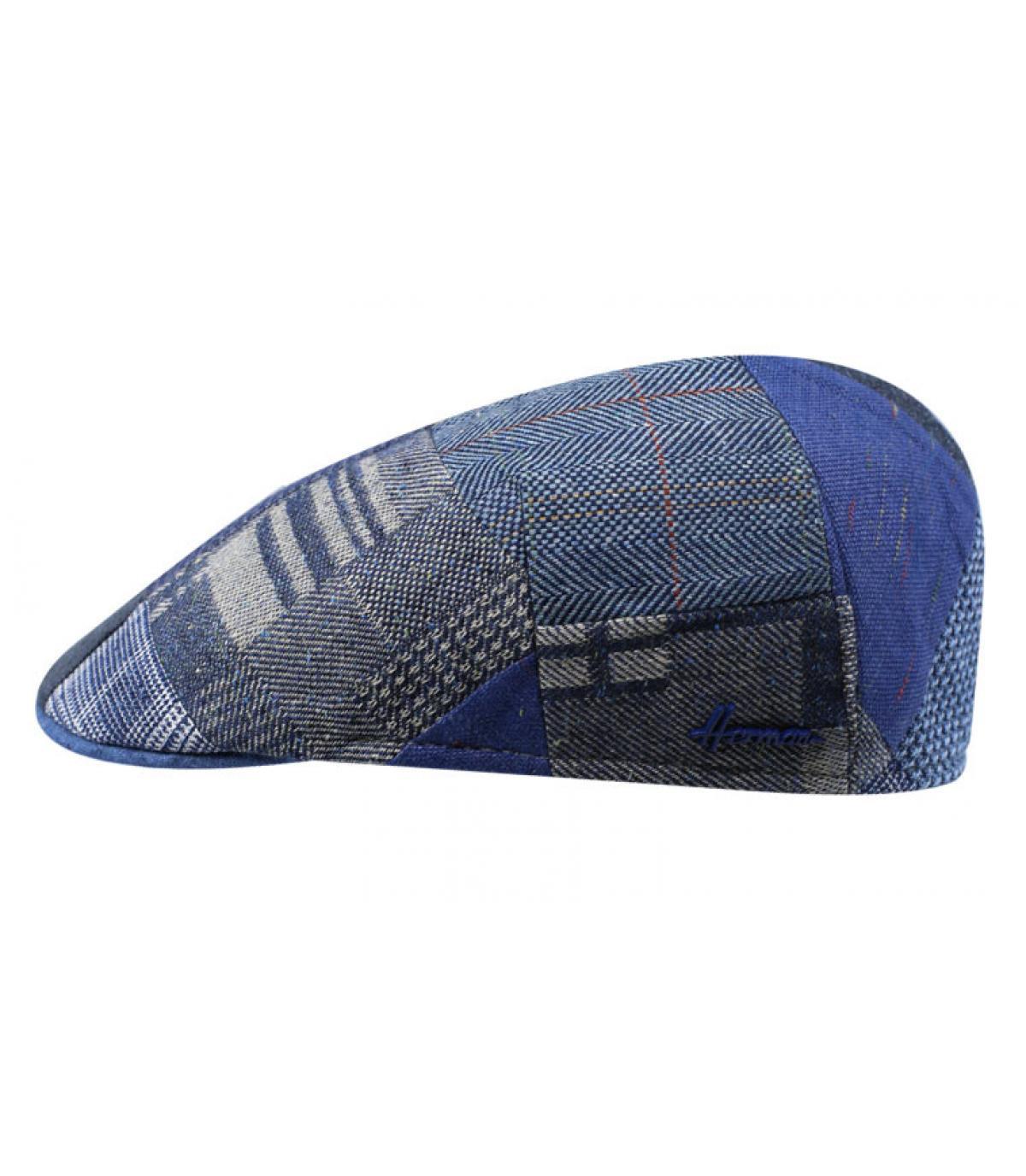 blue patchwork beret