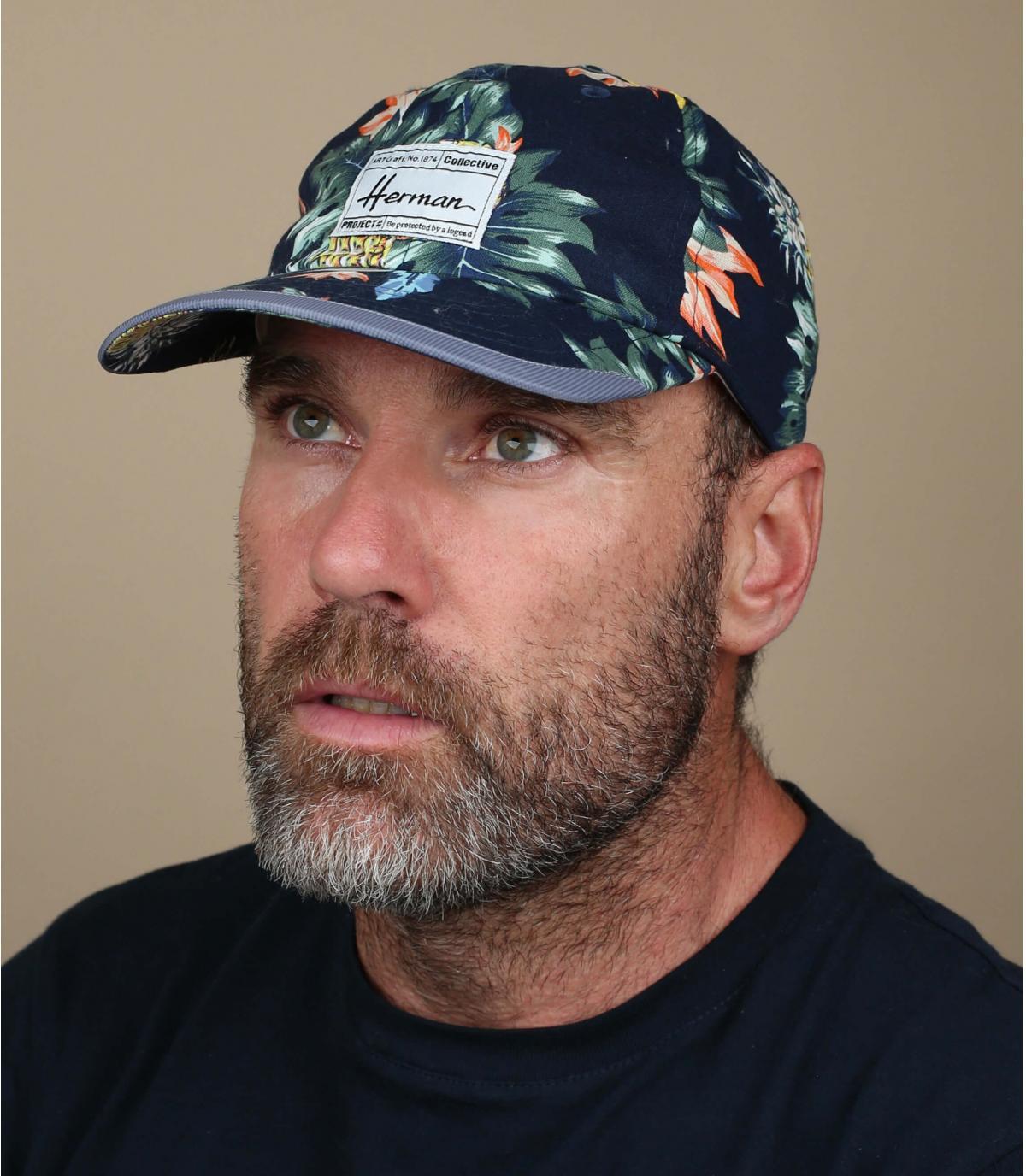 blue tropical cap