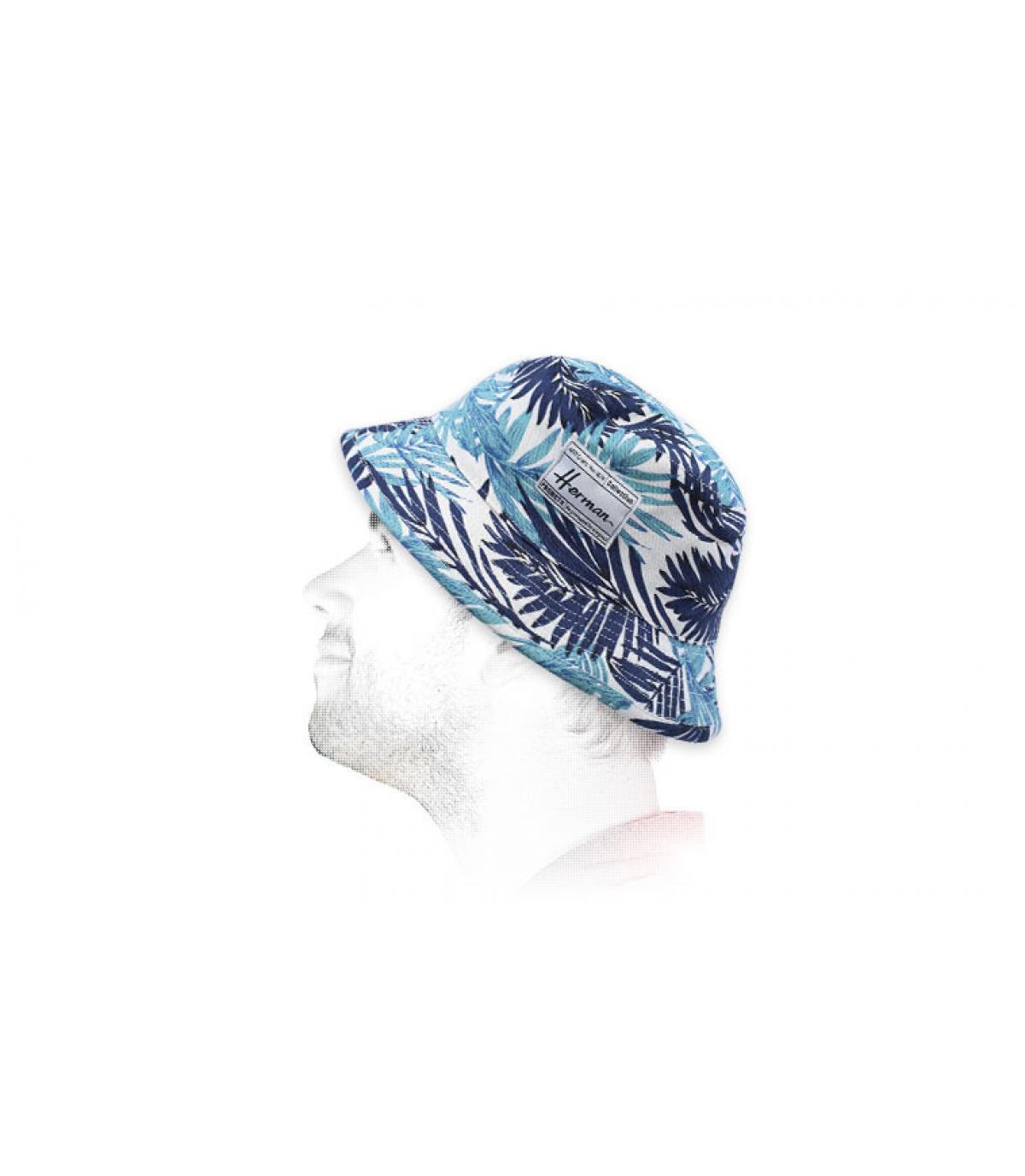blue printed bucket hat