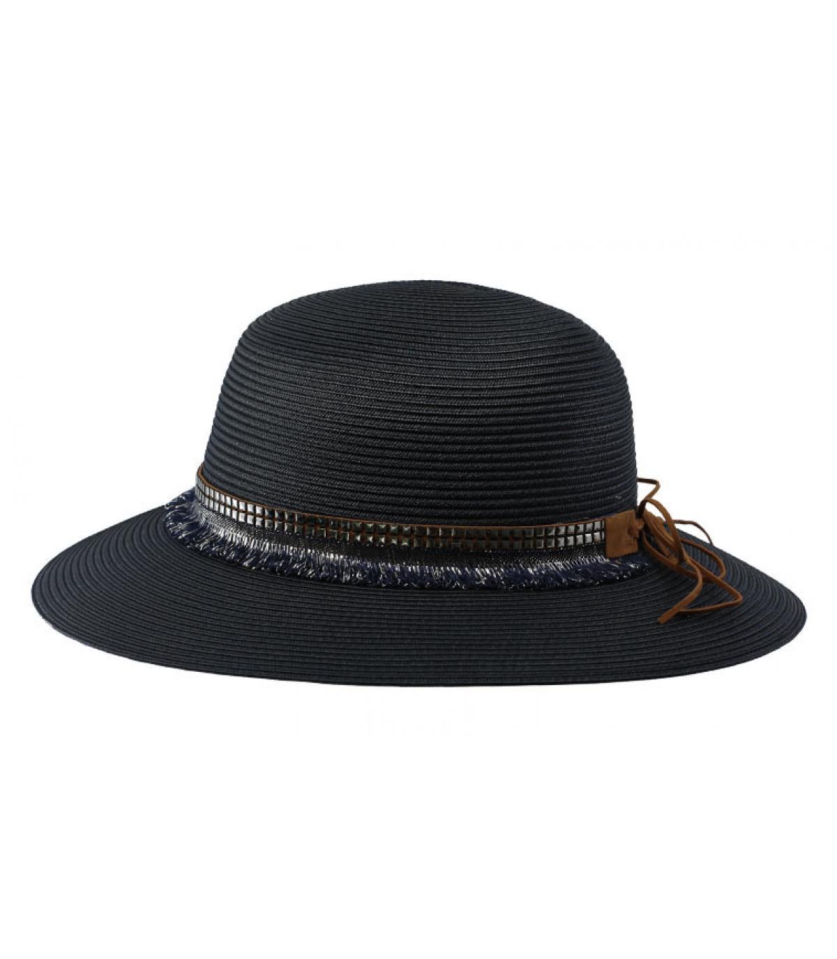 blue wide brim hat fringes