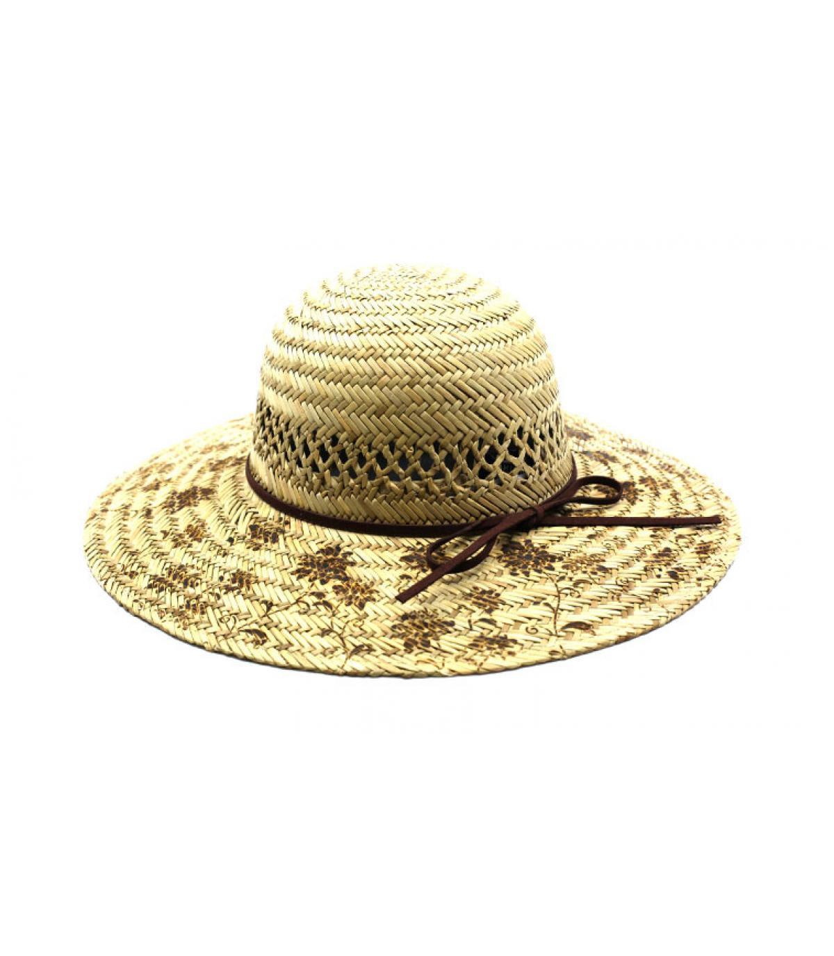 straw wide brimmed hat flowers