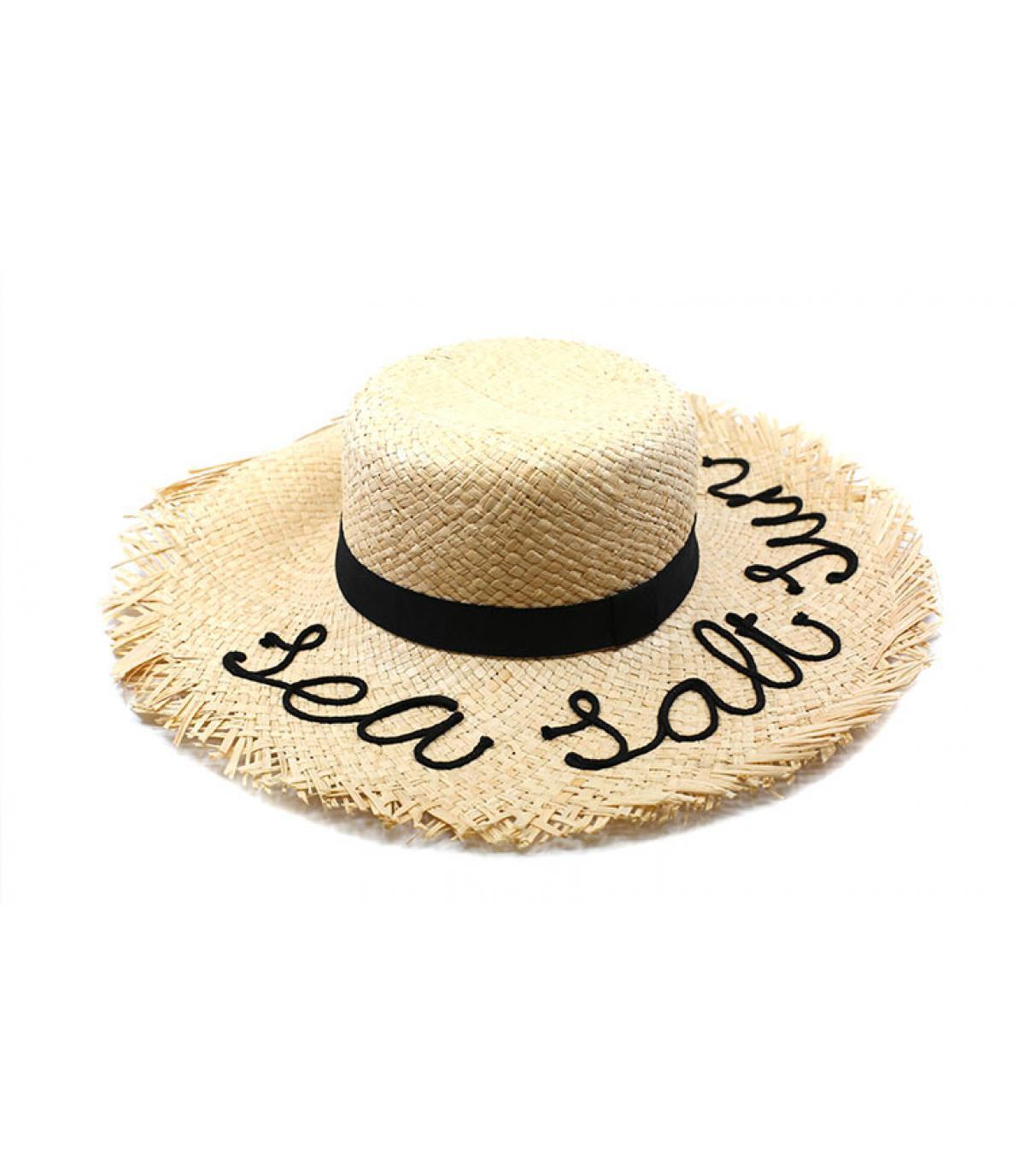 embroidered straw wide brimmed hat