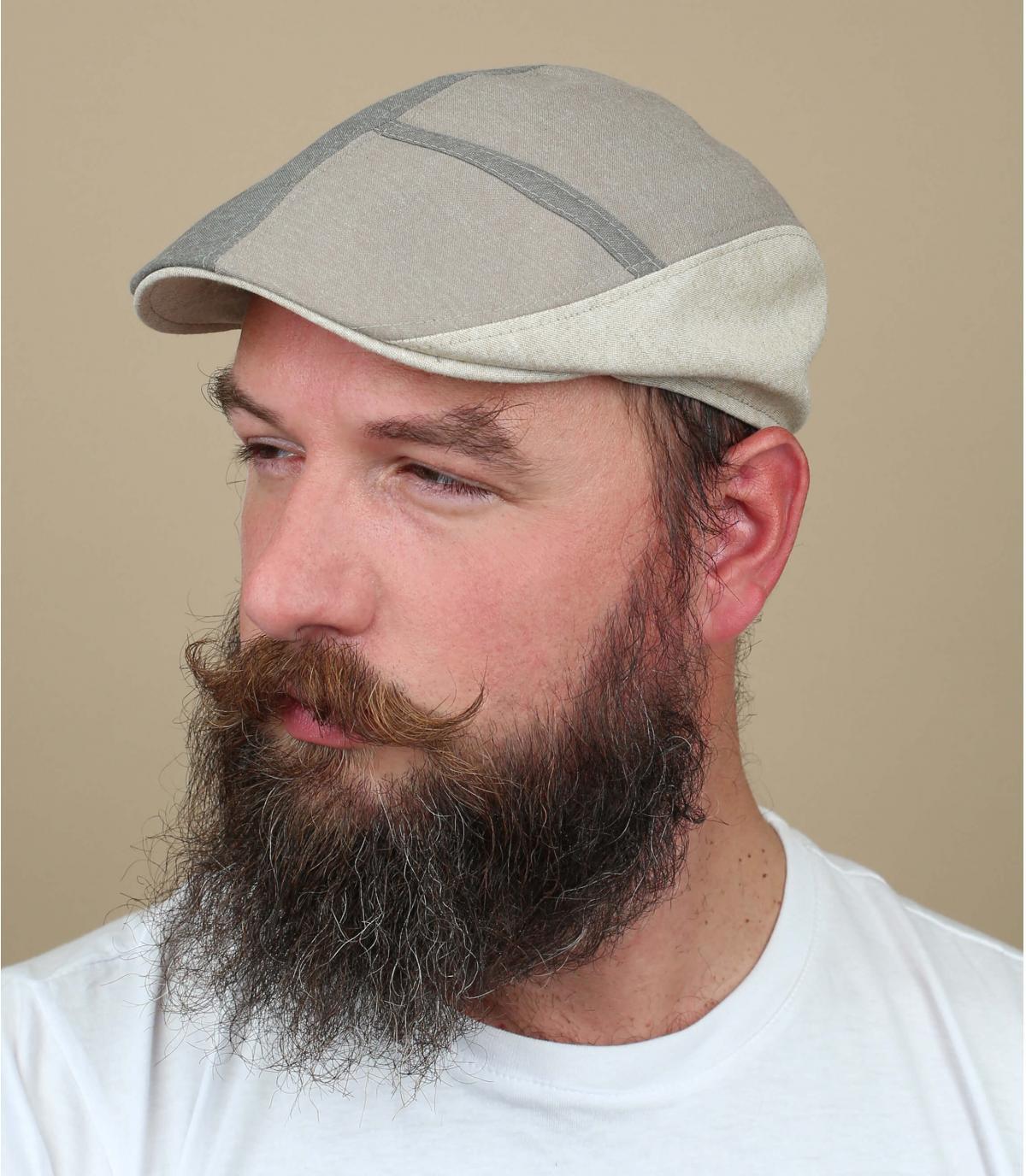 beige chambray cap