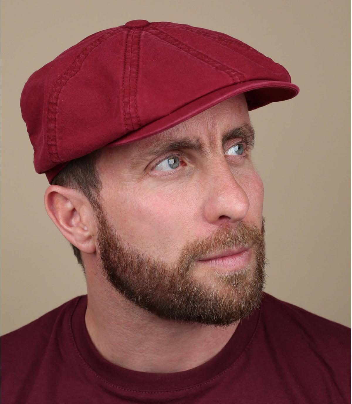 burgundy newsboy cap organic cotton