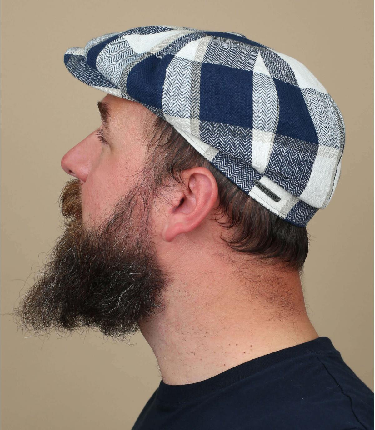 blue white square cap