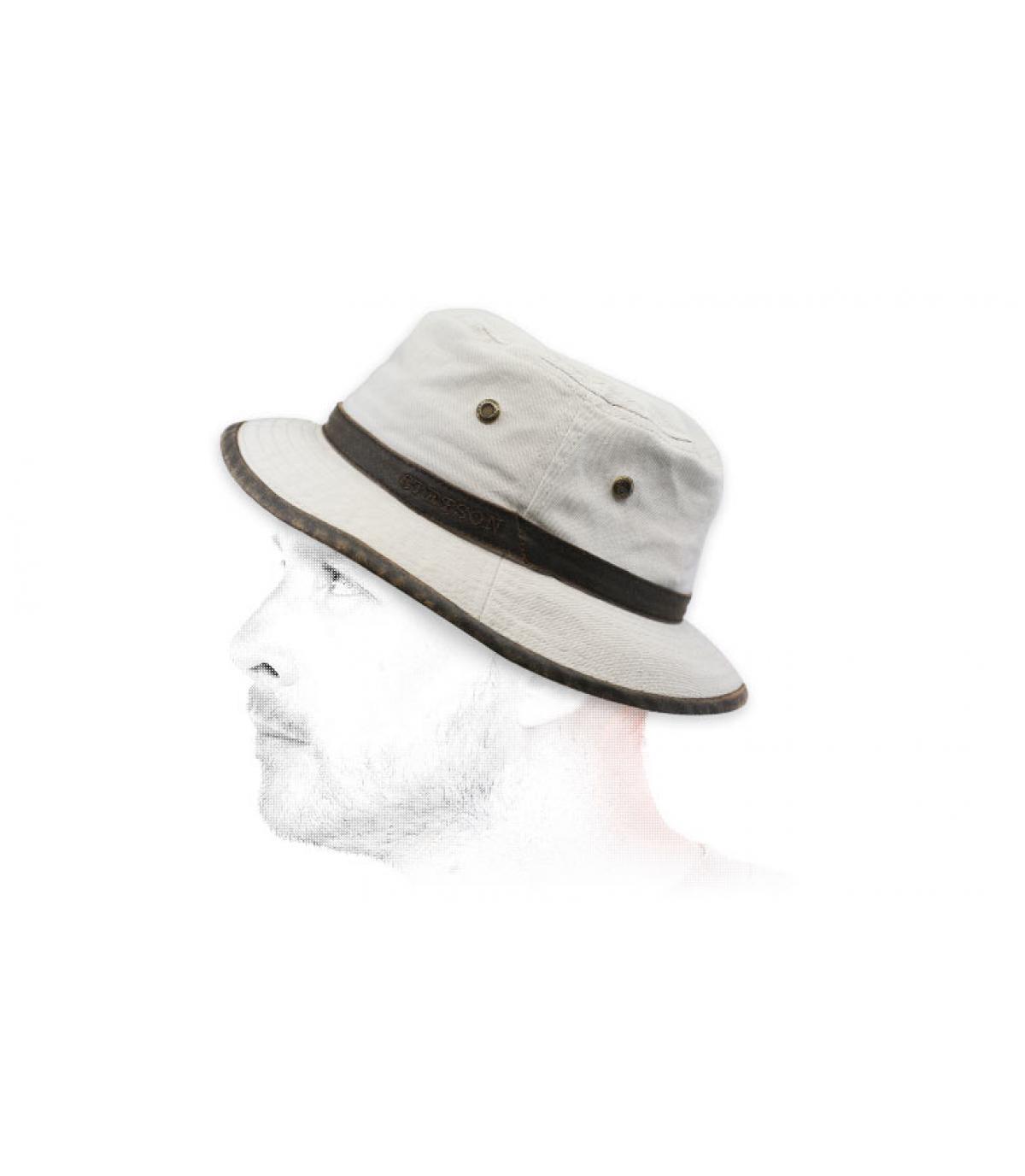 beige cotton bucket hat